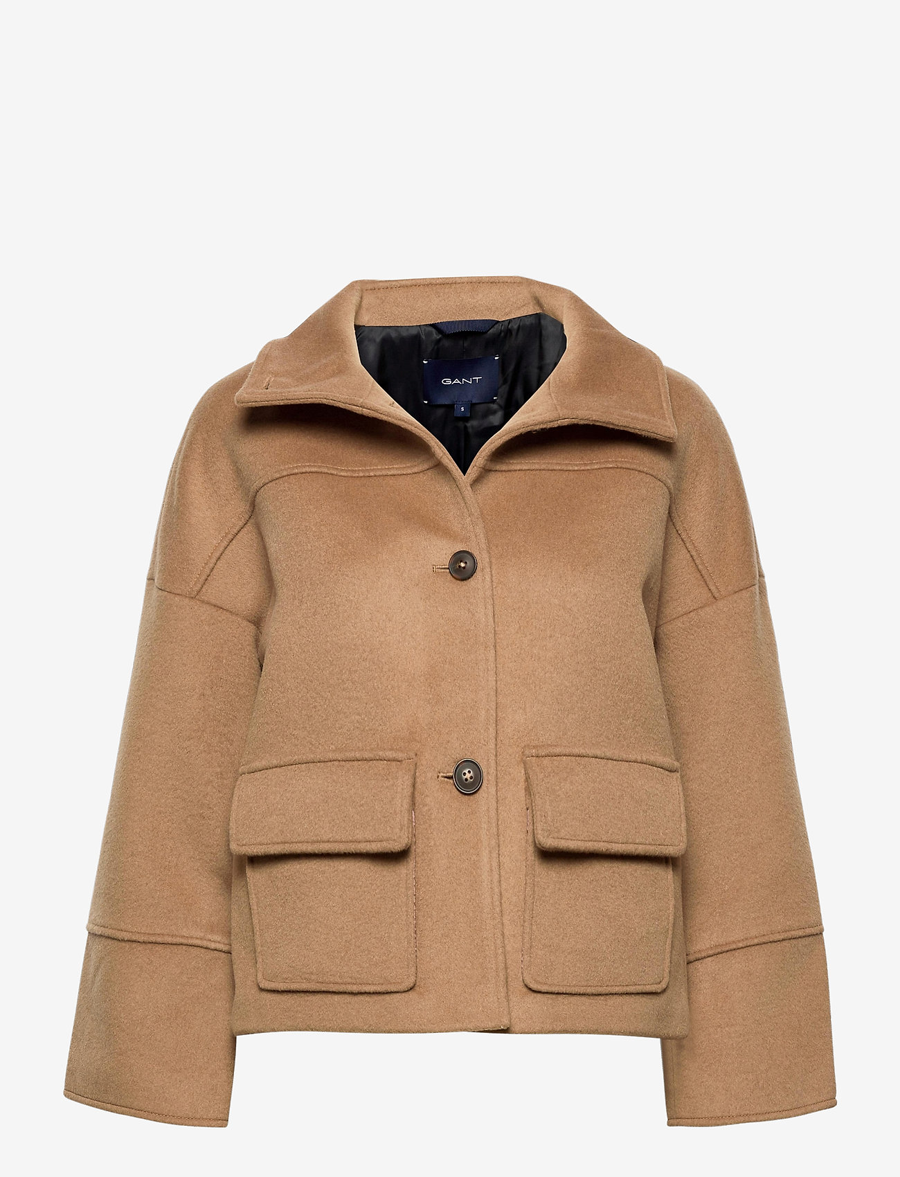 GANT - D1. WOOL BLEND CROPPED JACKET - wool jackets - warm khaki - 0