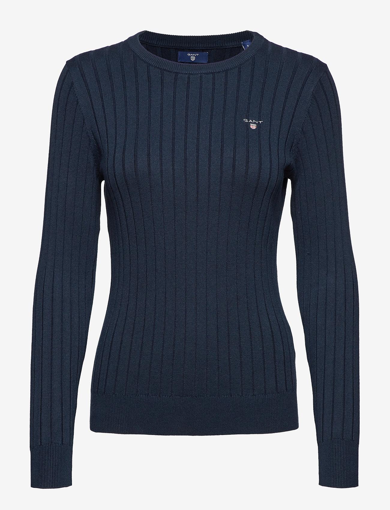 Gant - D1. STRETCH COTTON RIB CREW - jumpers - evening blue
