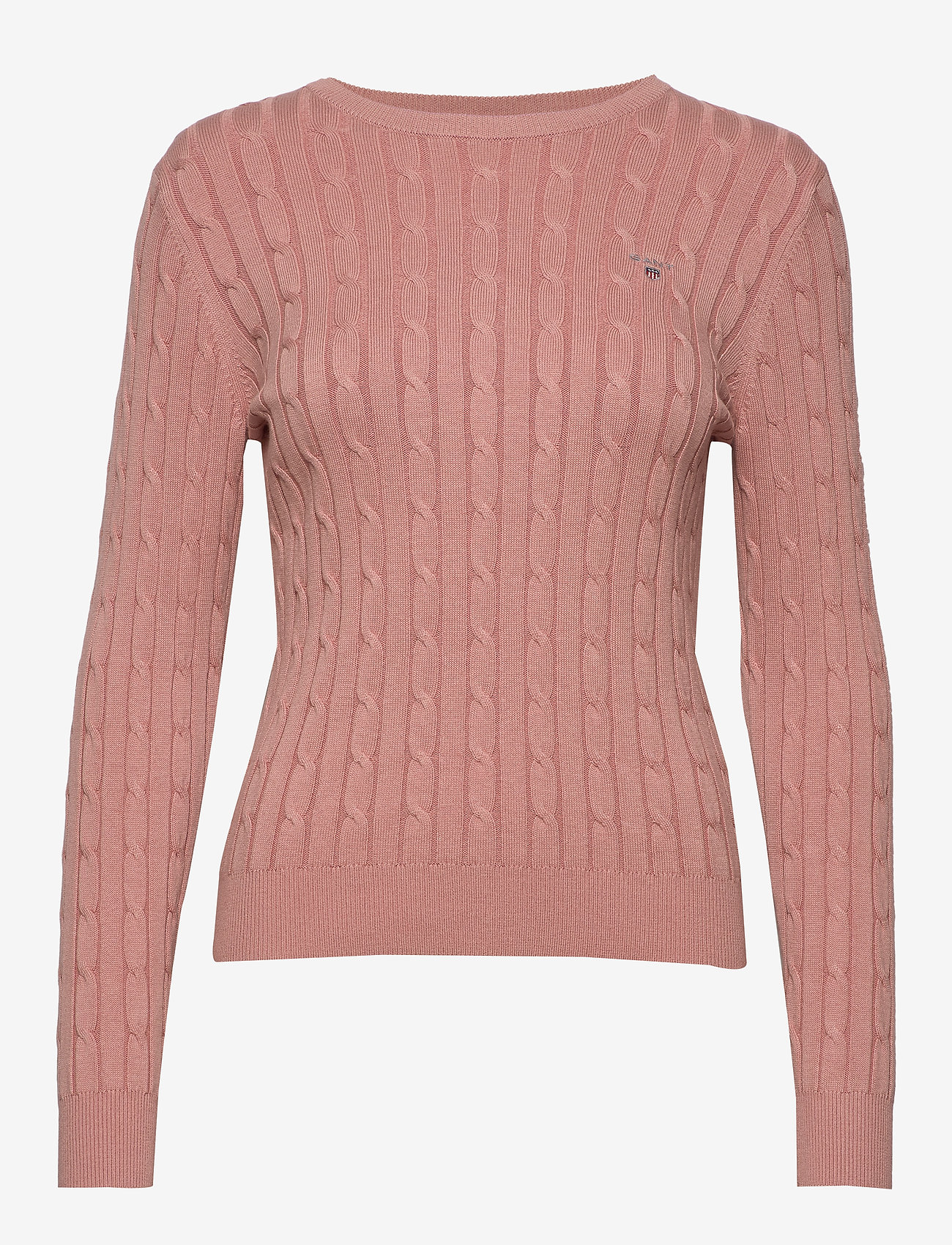 Gant - STRETCH COTTON CABLE C-NECK - tröjor - ash rose