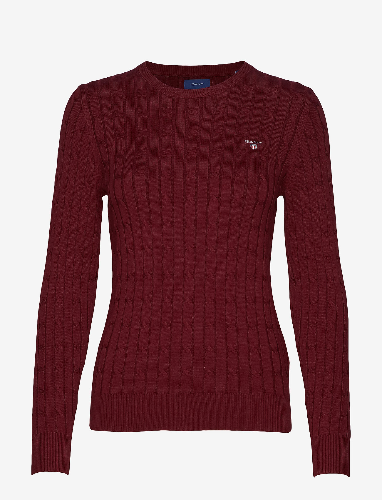 GANT - STRETCH COTTON CABLE C-NECK - jumpers - port red - 0