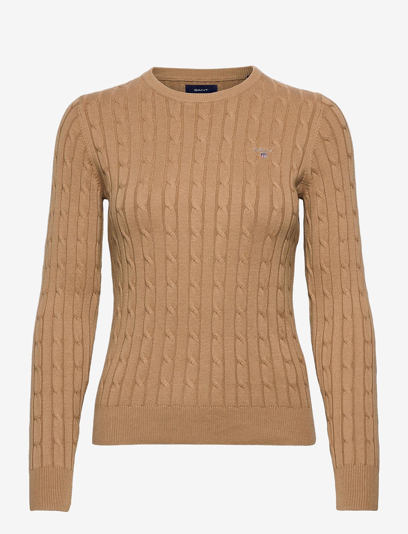 GANT - STRETCH COTTON CABLE C-NECK - jumpers - warm khaki - 0