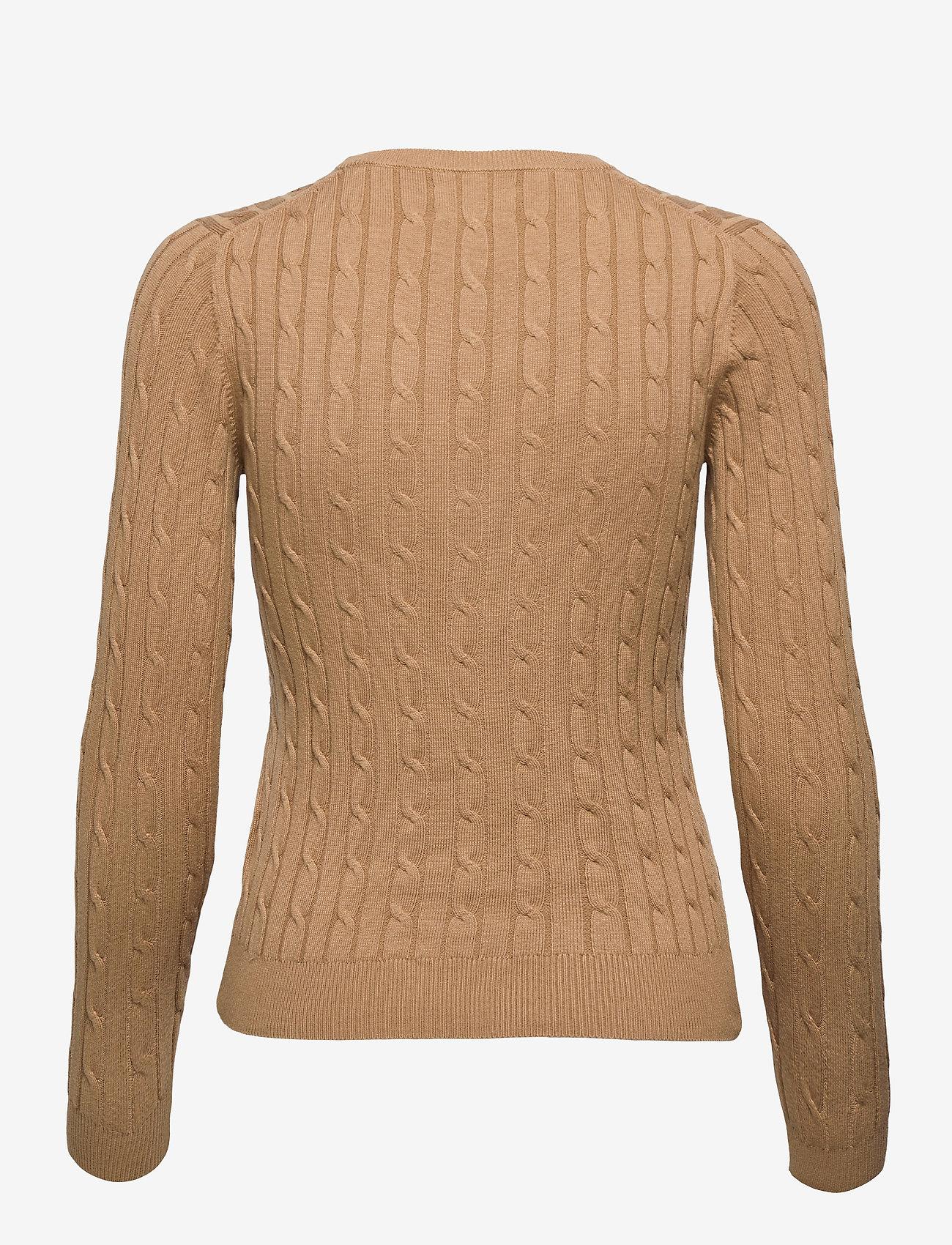 GANT - STRETCH COTTON CABLE C-NECK - jumpers - warm khaki - 1