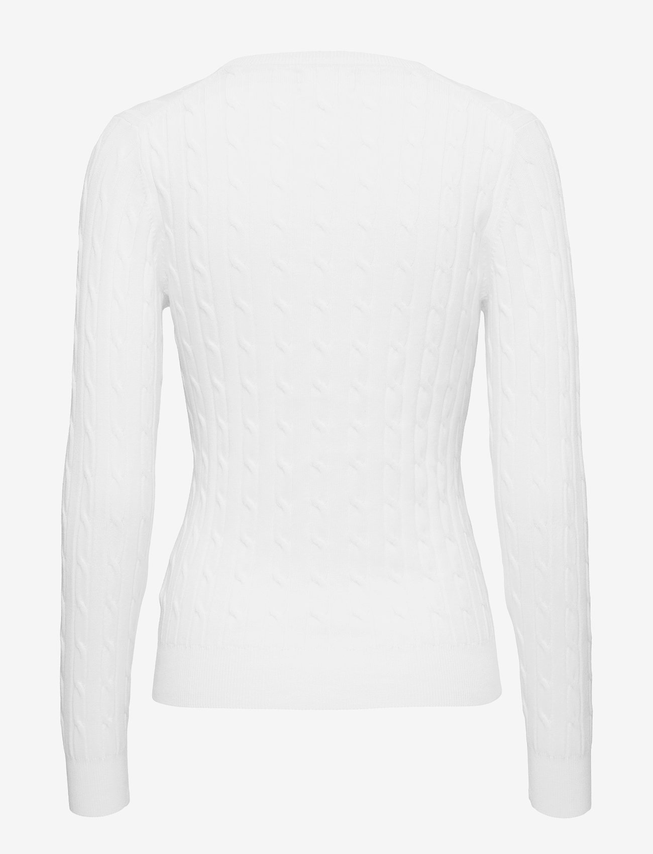 Gant - STRETCH COTTON CABLE V-NECK - jumpers - eggshell