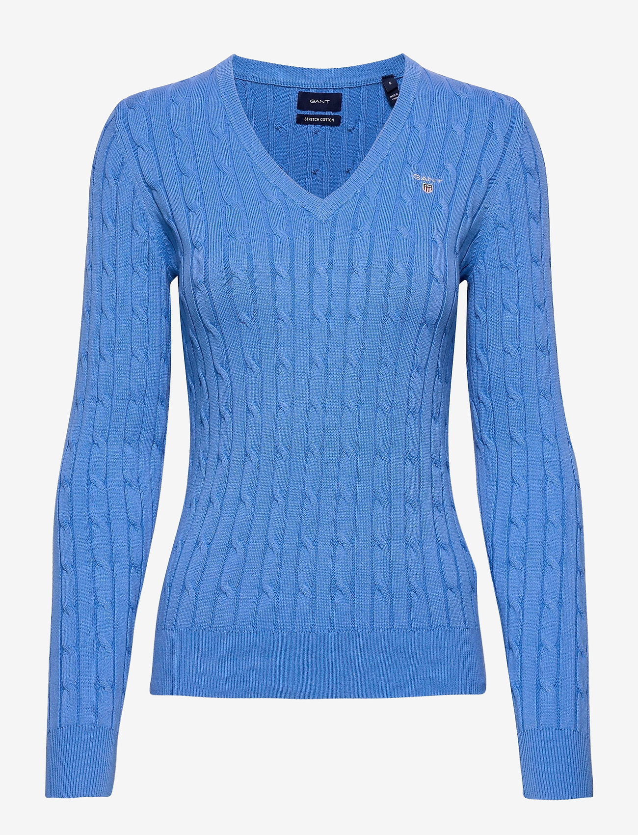 GANT - STRETCH COTTON CABLE V-NECK - jumpers - pacific blue - 0