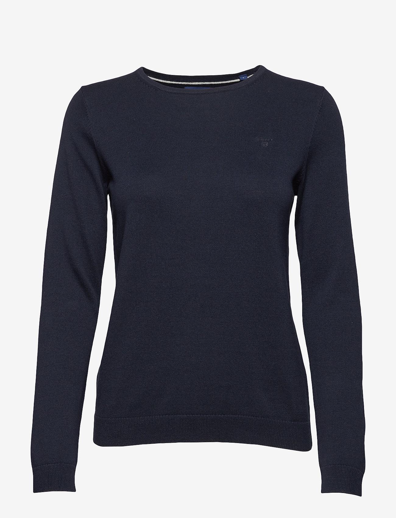 Gant - LT WEIGHT COTTON CREW NECK - neulepuserot - evening blue