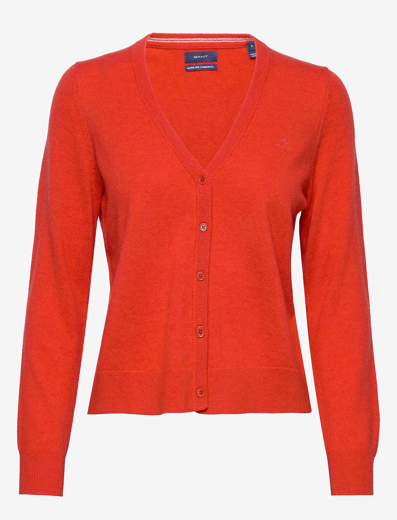 Gant - SUPERFINE LAMBSWOOL CARDIGAN - neuletakit - blood orange