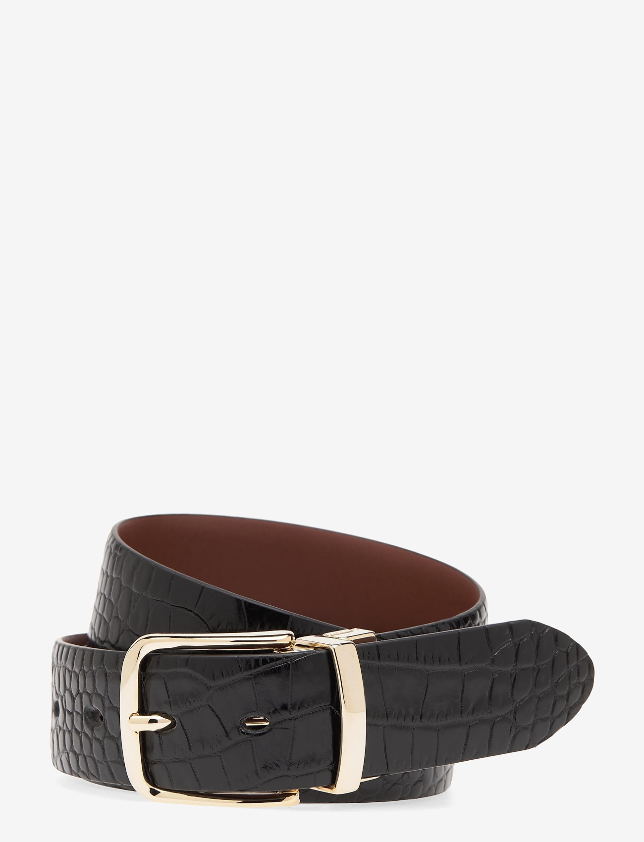 GANT - D1. CROCO REVERSIBLE BELT - belts - black - 0