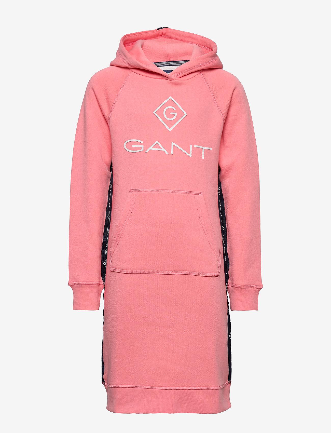 GANT - D1. LOCK UP STRIPE HOODIE DRESS - kleider - strawberry pink - 0