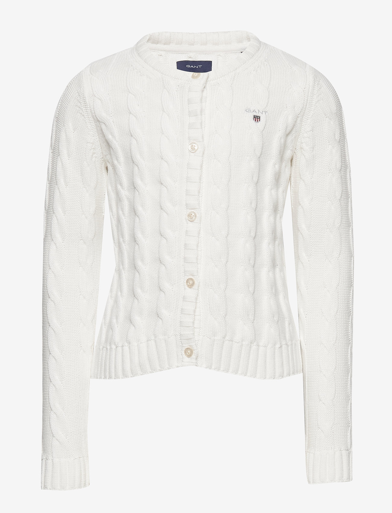 GANT - COTTON CABLE CARDIGAN - cardigans - eggshell - 0