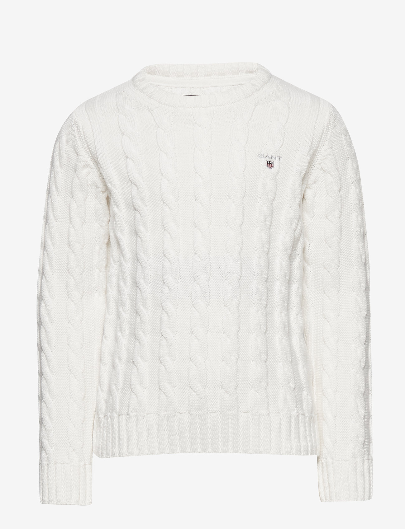 GANT - COTTON CABLE CREW - knitwear - eggshell - 0