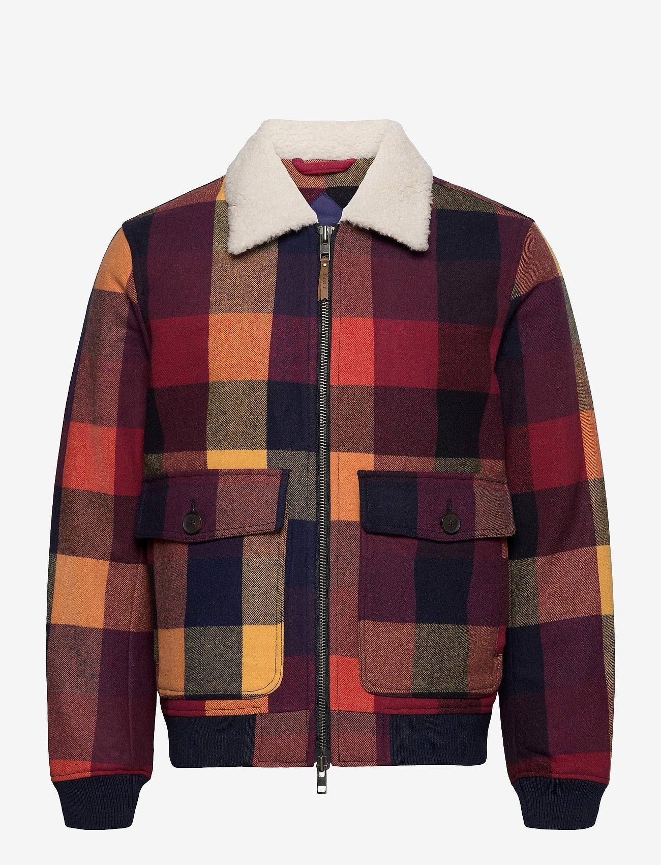GANT - D2. WOOL CHECK FLIGHT JACKET - wool jackets - port red - 0