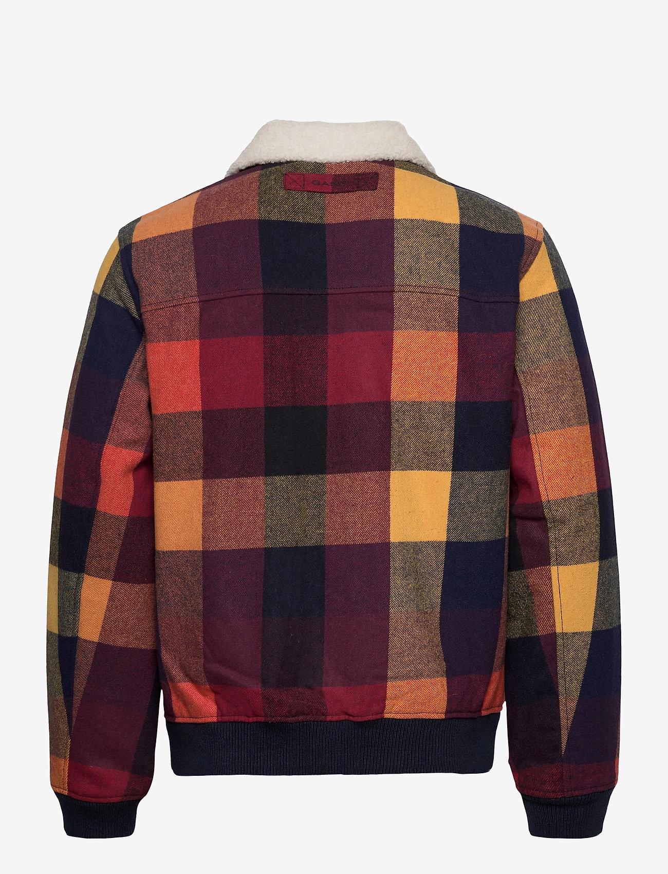 GANT - D2. WOOL CHECK FLIGHT JACKET - wool jackets - port red - 1