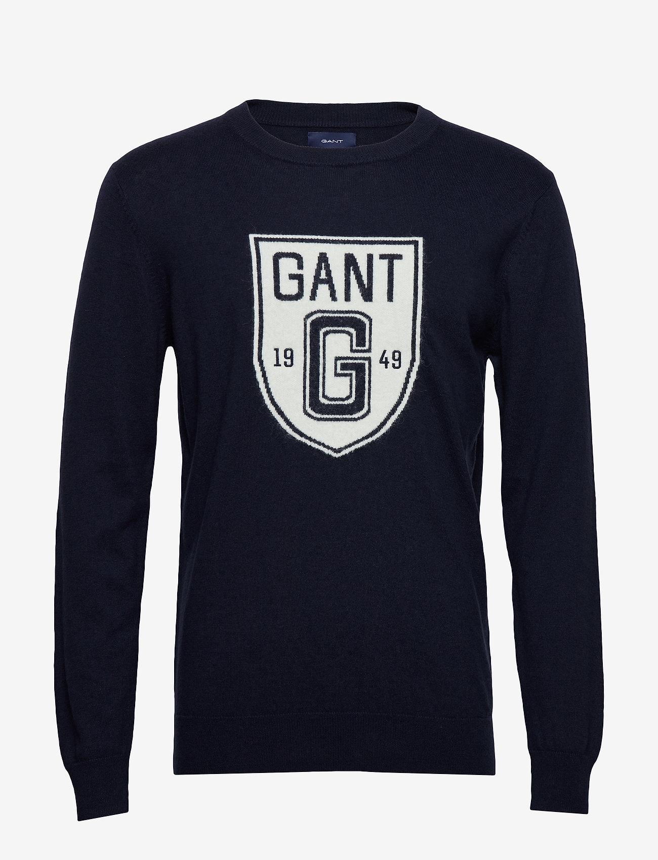Gant - D2. HOLIDAY INTARSIA SHIELD CREW - pyöreäaukkoiset - evening blue