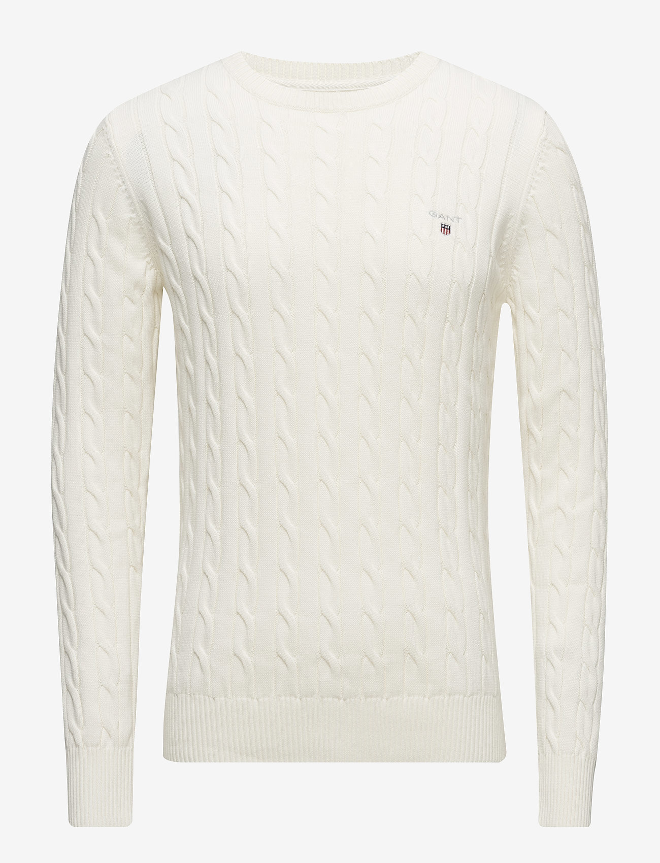 Gant - COTTON CABLE CREW - basic knitwear - cream