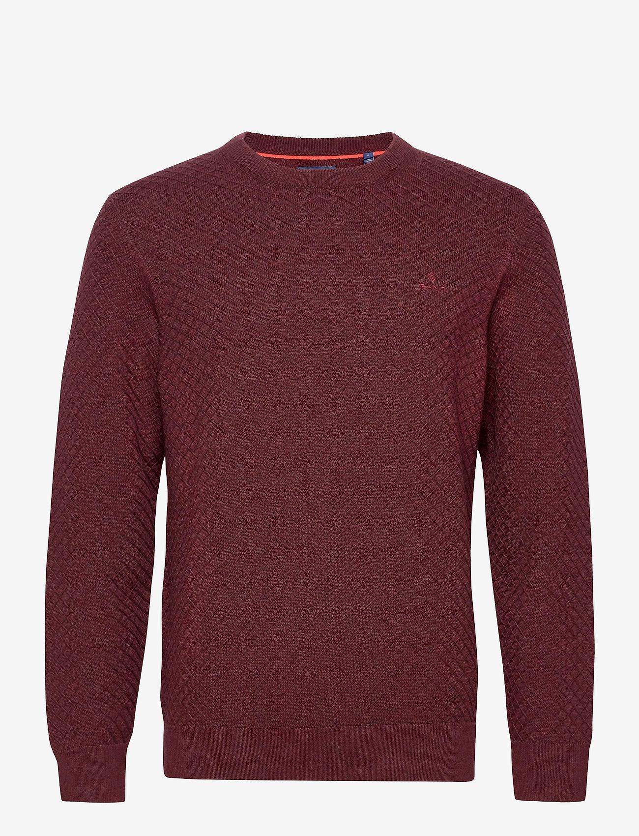 GANT - D1. COTTON TEXTURE CREW - basic knitwear - dk. burgundy mel - 0