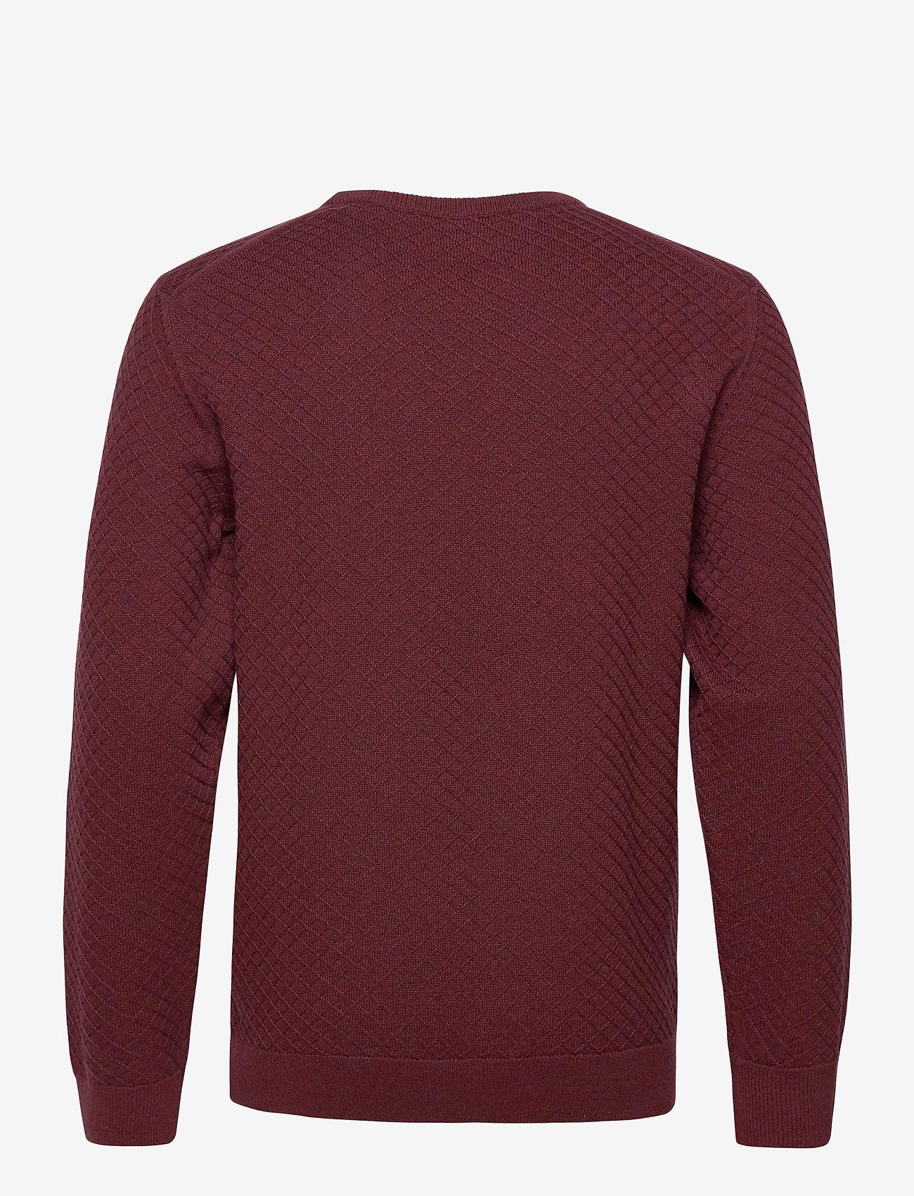 GANT - D1. COTTON TEXTURE CREW - basic knitwear - dk. burgundy mel - 1