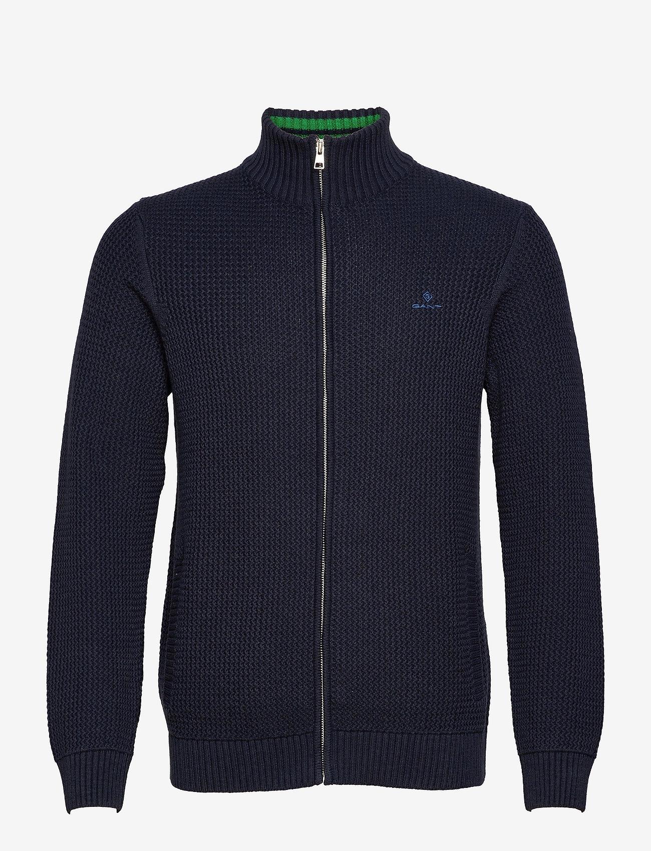 GANT - D2. COTTON STRUCTURE FULL ZIP - basic knitwear - evening blue - 0