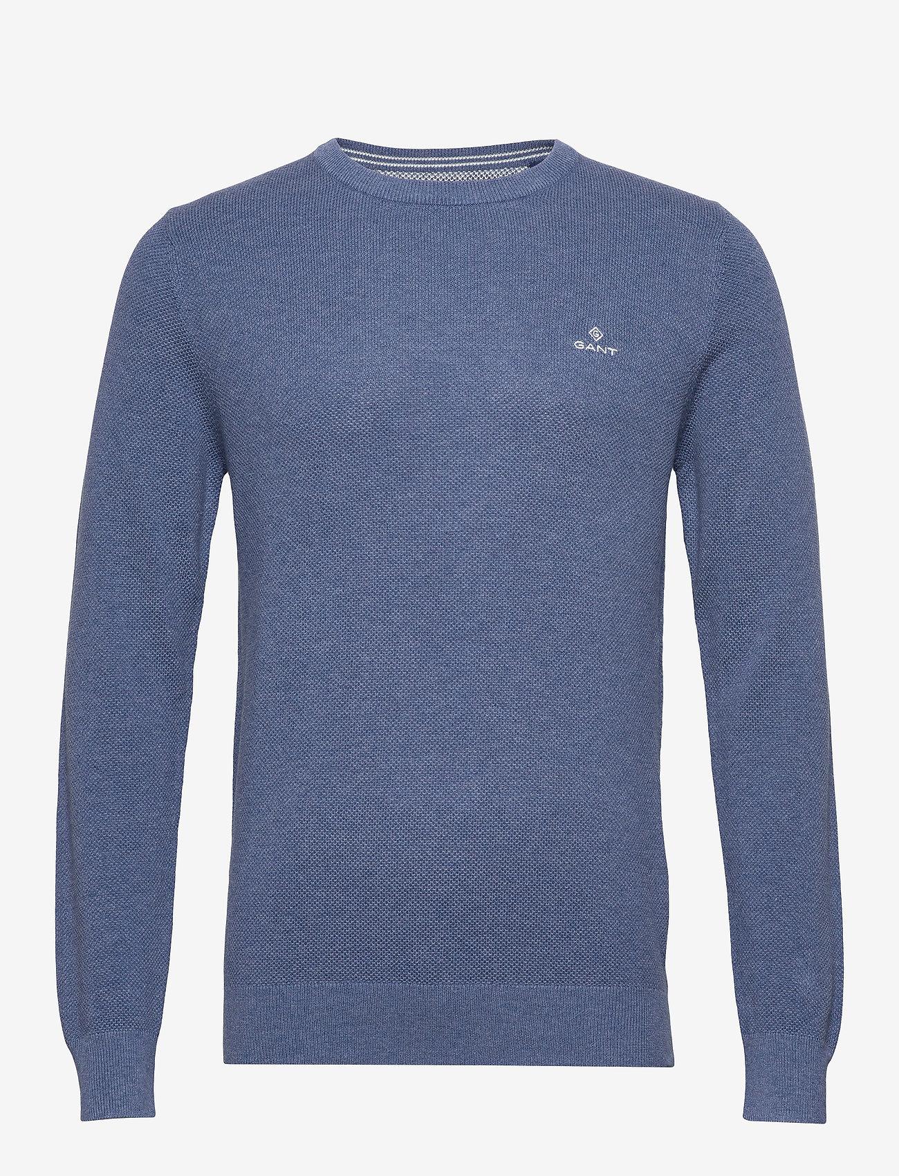 GANT - COTTON PIQUE C-NECK - knitted round necks - denim blue mel - 0