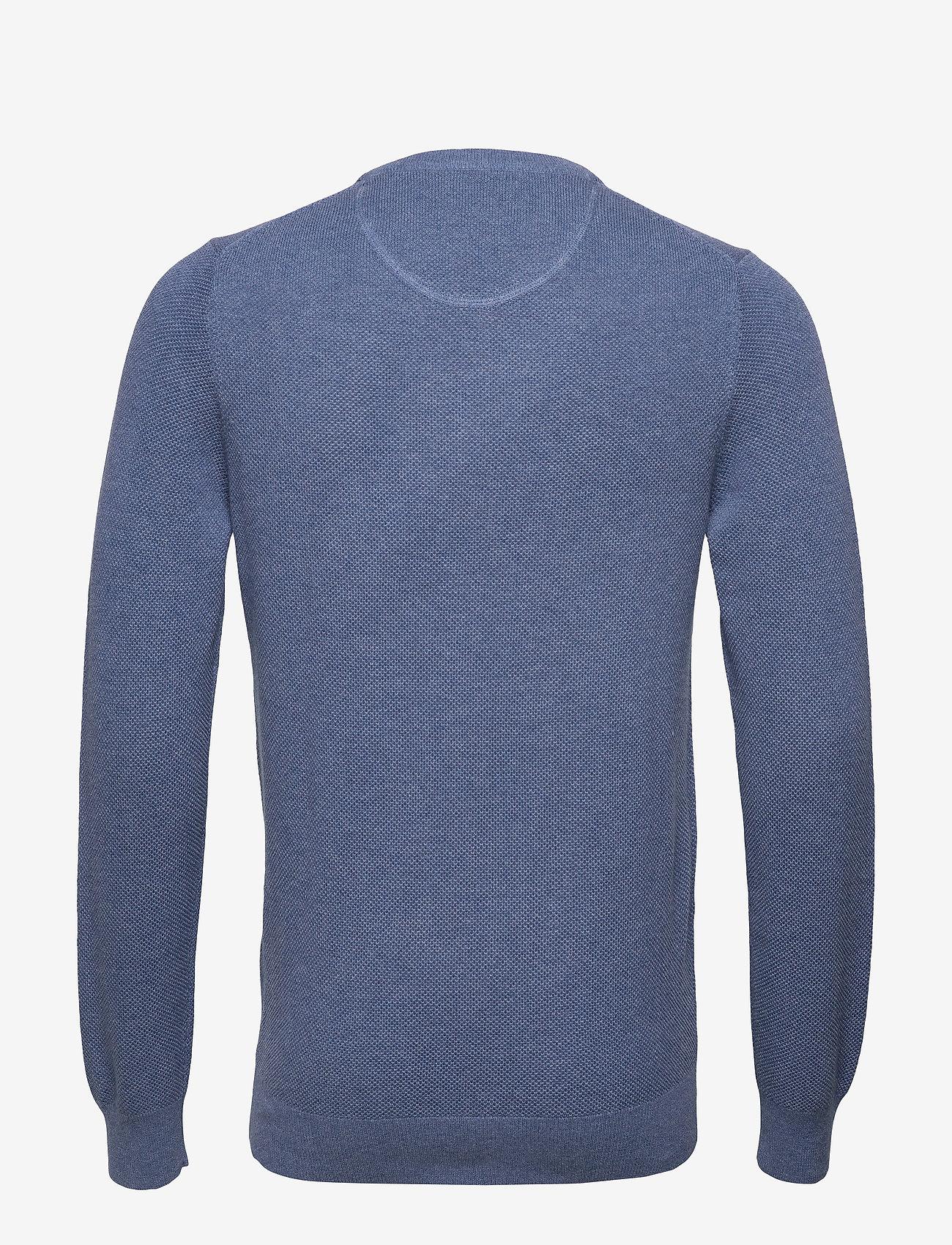 GANT - COTTON PIQUE C-NECK - knitted round necks - denim blue mel - 1