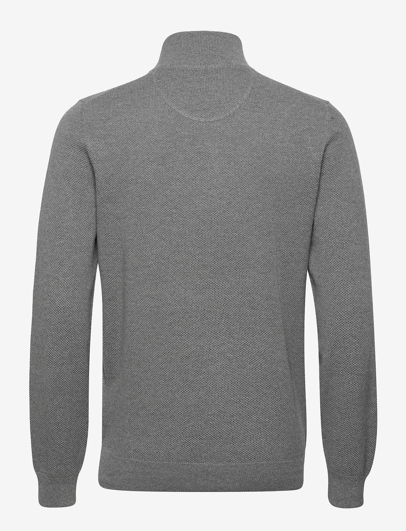 GANT - COTTON PIQUE HALF ZIP - half zip - dark grey melange - 1
