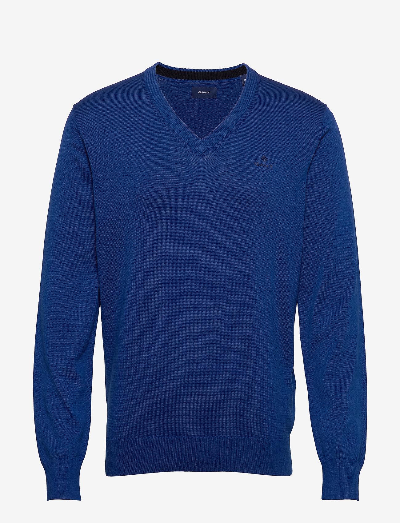 GANT - CLASSIC COTTON V-NECK - knitted v-necks - crisp blue - 0