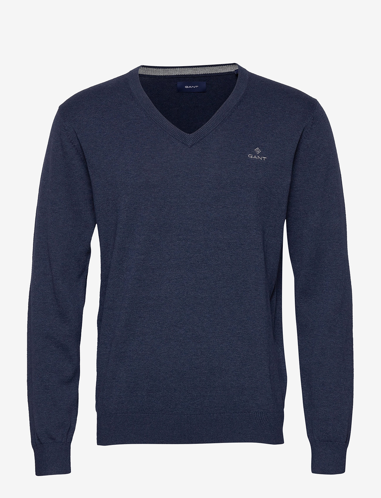 GANT - CLASSIC COTTON V-NECK - knitted v-necks - dark jeansblue melange - 0