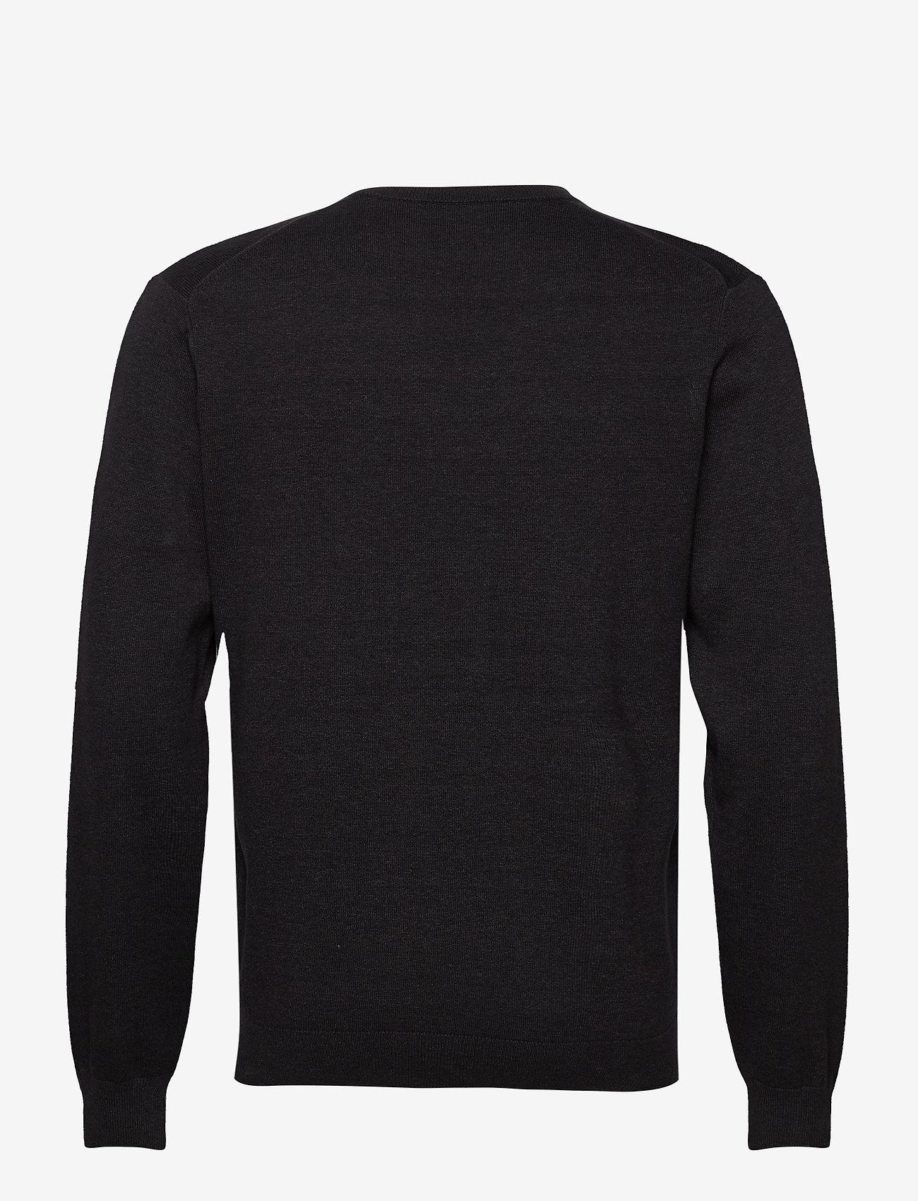 GANT - CLASSIC COTTON V-NECK - knitted v-necks - dk charcoal melange - 1