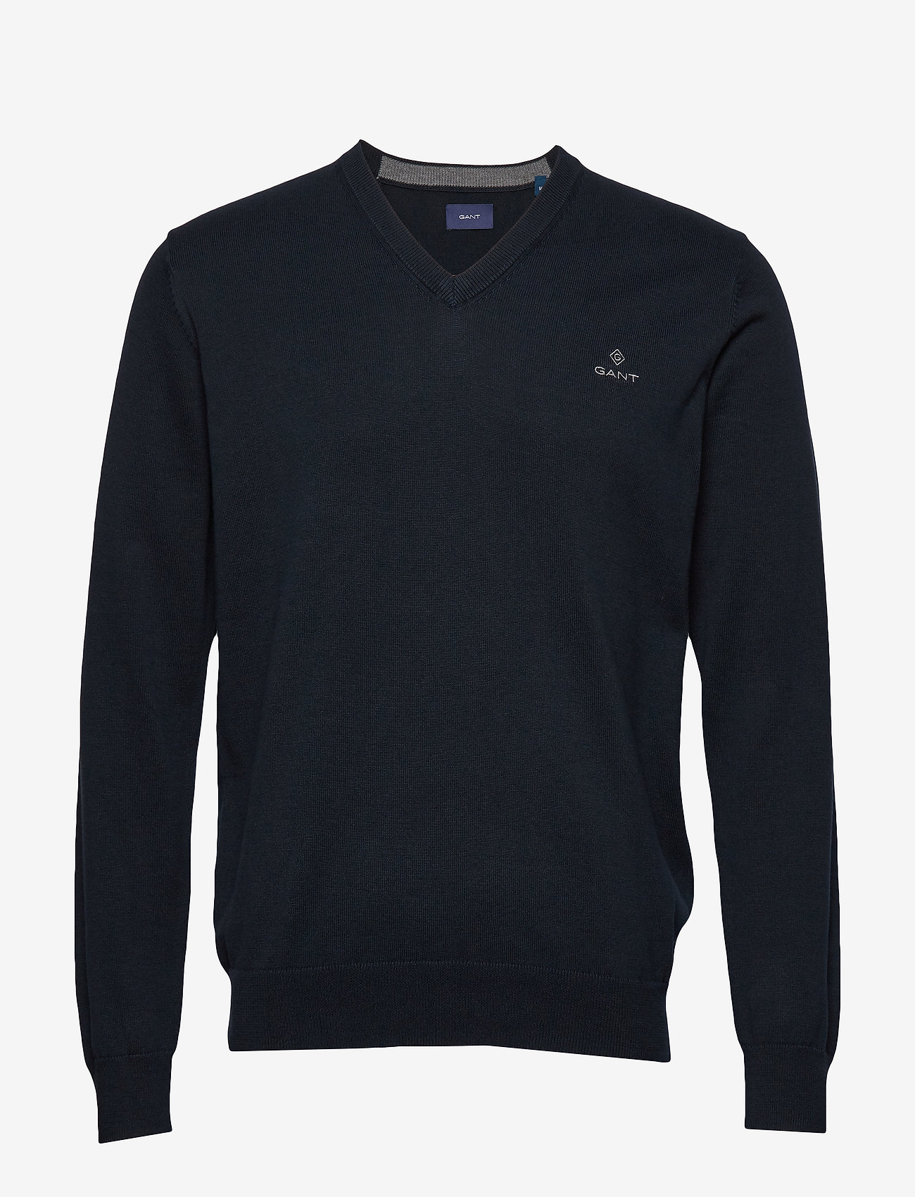 GANT - CLASSIC COTTON V-NECK - knitted v-necks - evening blue - 0
