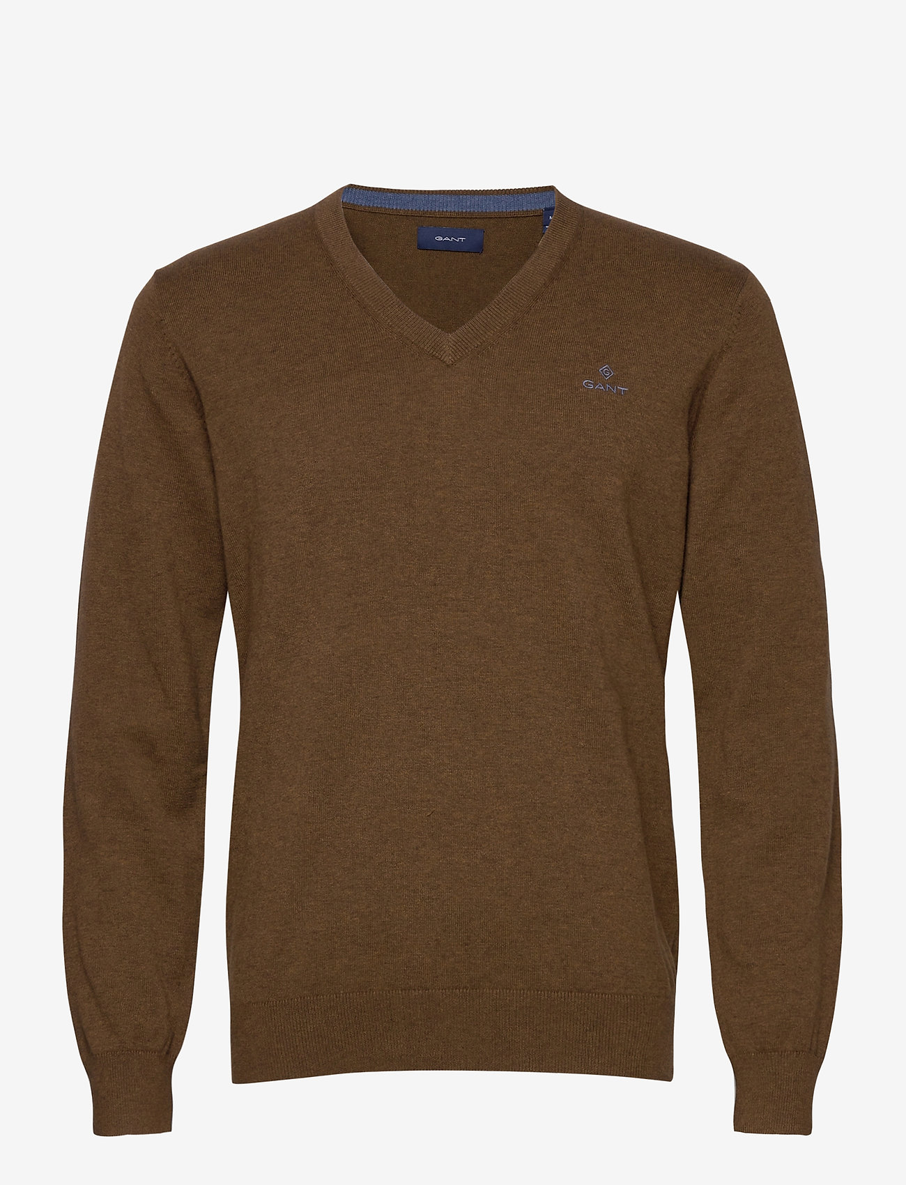 GANT - CLASSIC COTTON V-NECK - knitted v-necks - hazelnut melange - 0