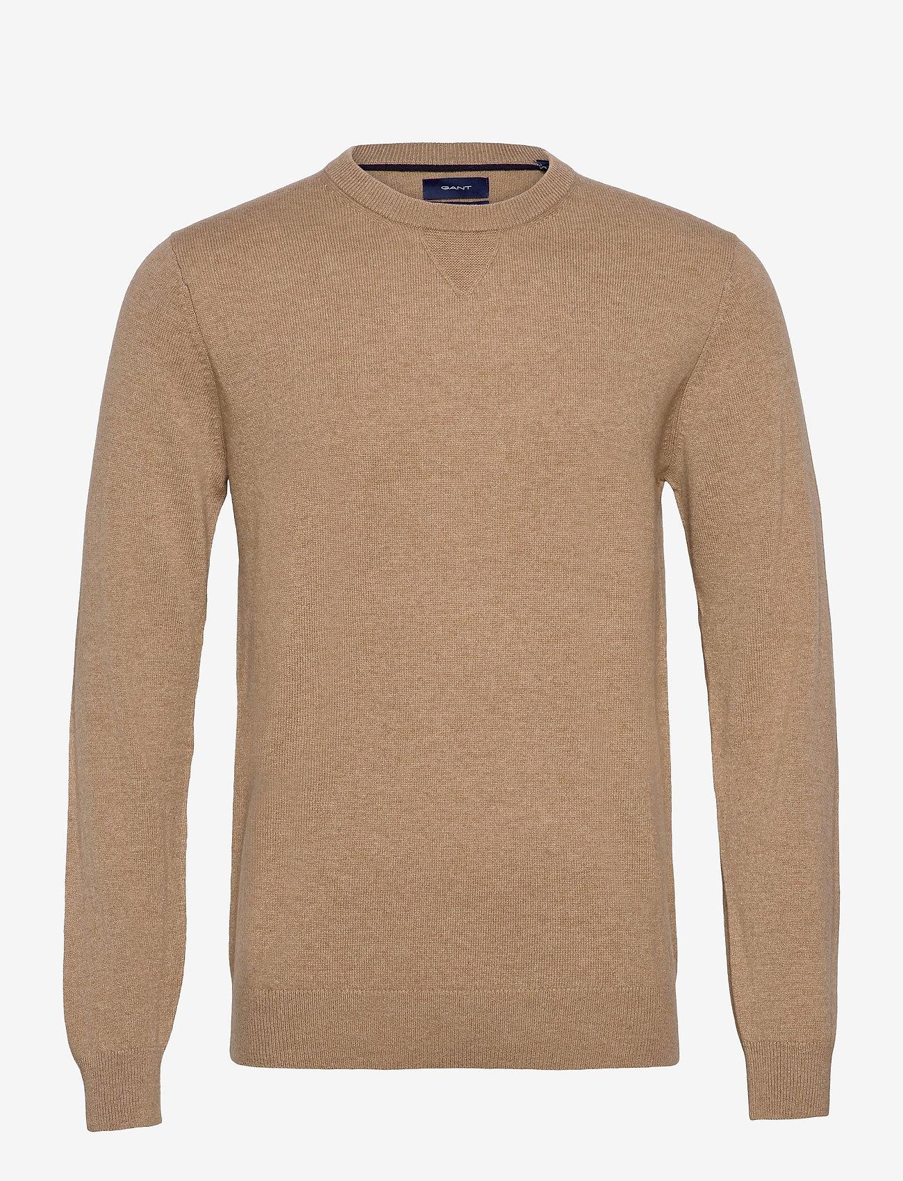GANT - D1. WOOL CASHMERE  C-NECK - basic knitwear - warm khaki - 0