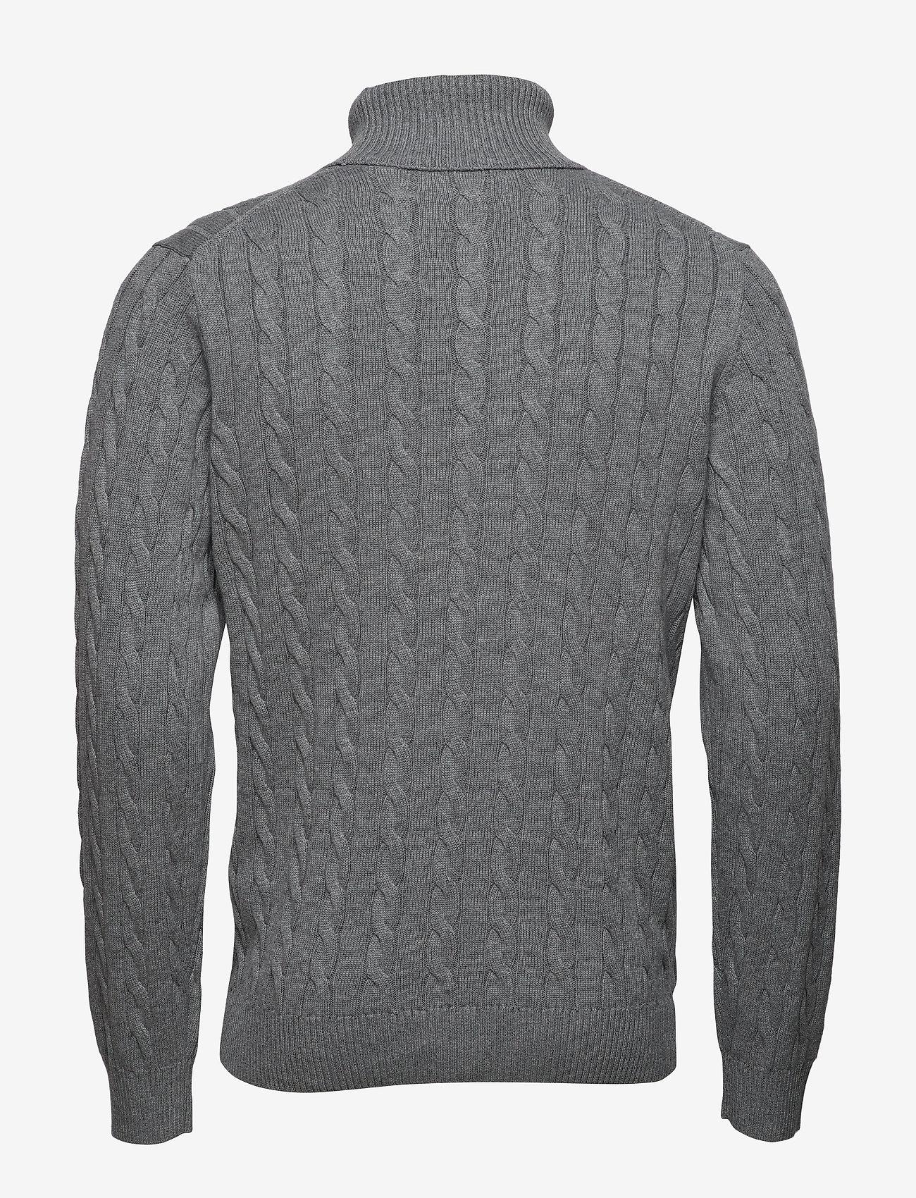 Gant - COTTON CABLE TURTLE NECK - poolokaulus - dark grey melange