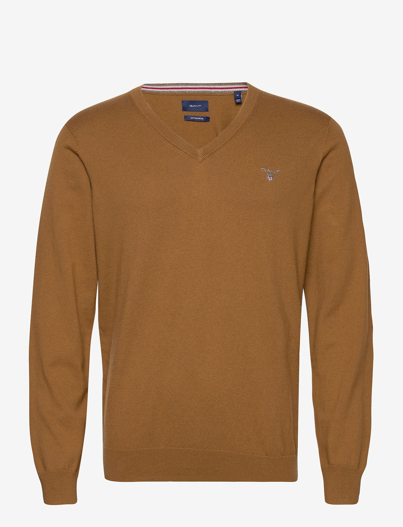 GANT - COTTON WOOL V-NECK - knitted v-necks - butternut melange - 0