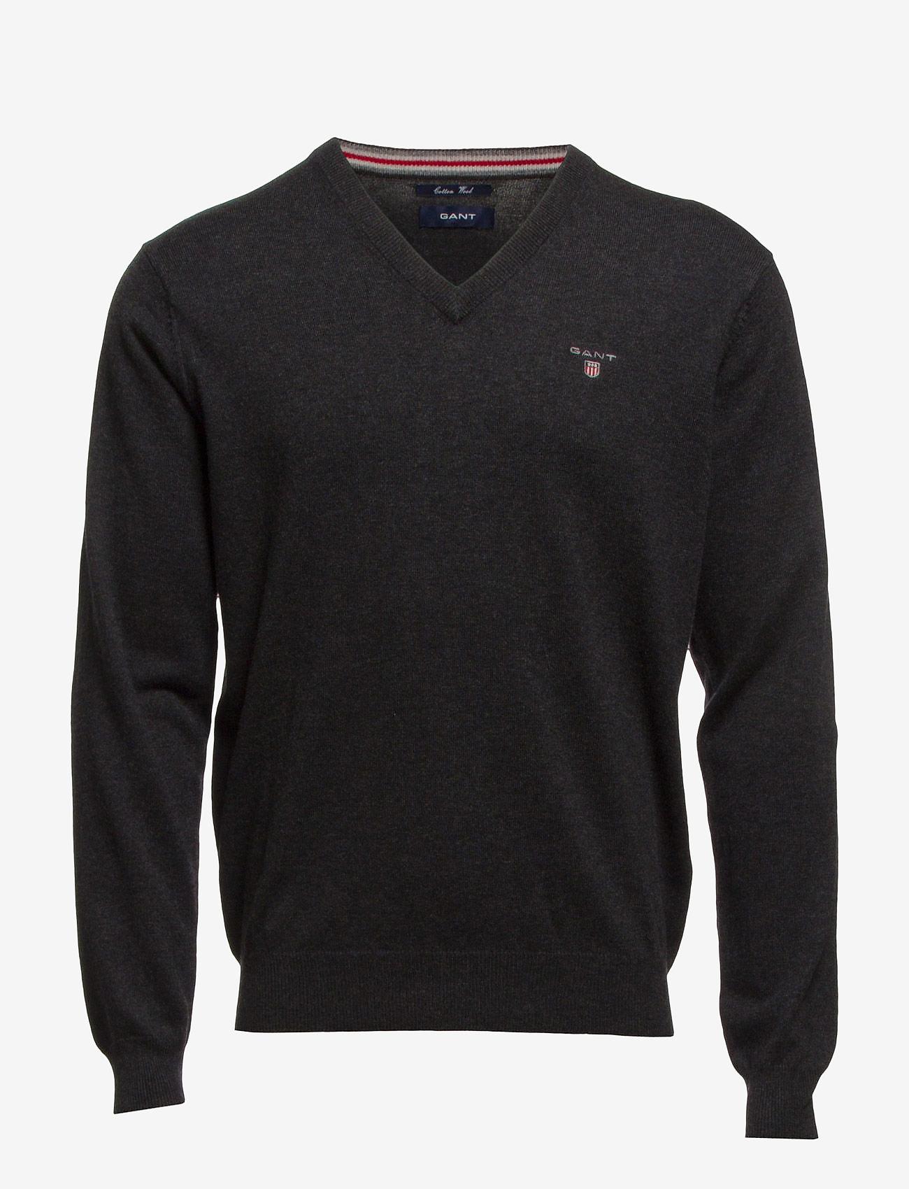 GANT - COTTON WOOL V-NECK - knitted v-necks - dk charcoal melange - 0