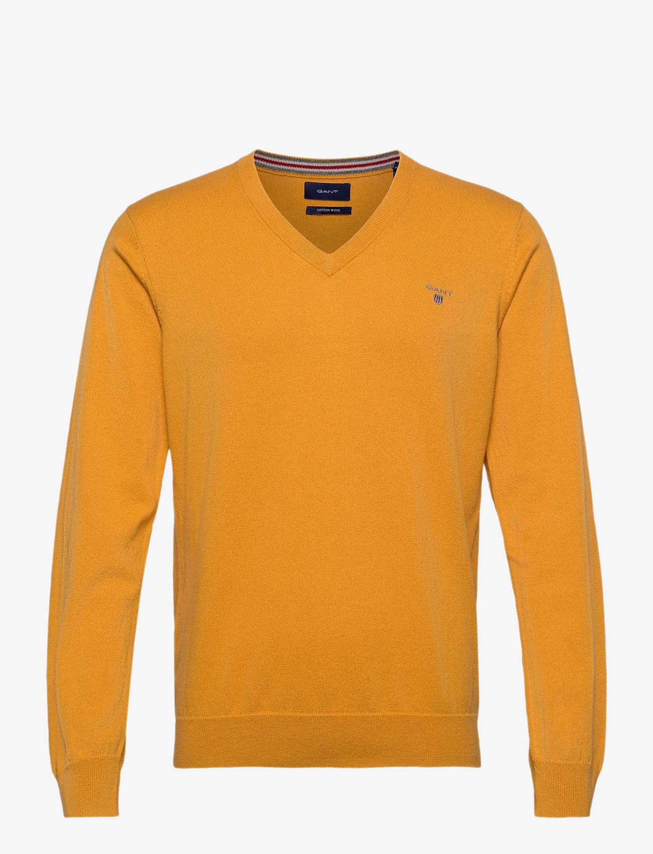 GANT - COTTON WOOL V-NECK - knitted v-necks - ivy gold - 0