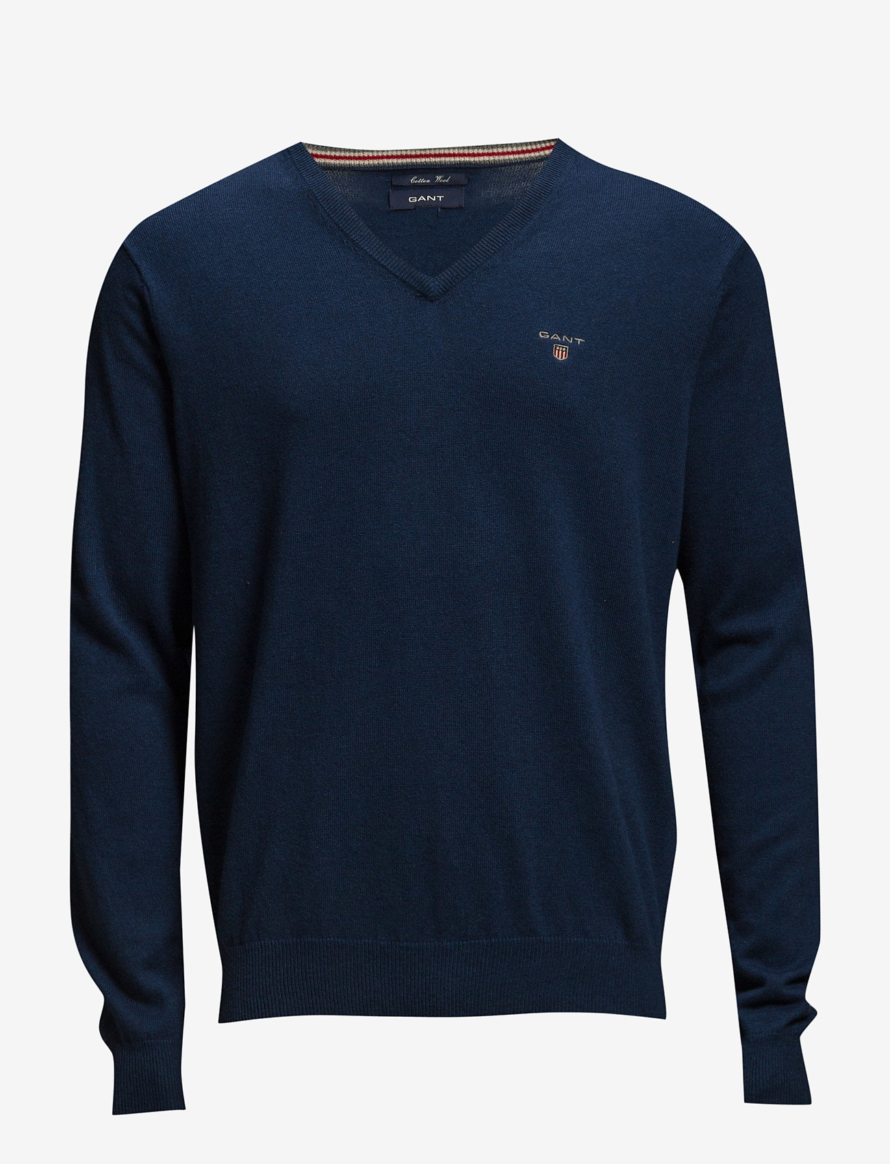 GANT - COTTON WOOL V-NECK - knitted v-necks - marine melange - 0