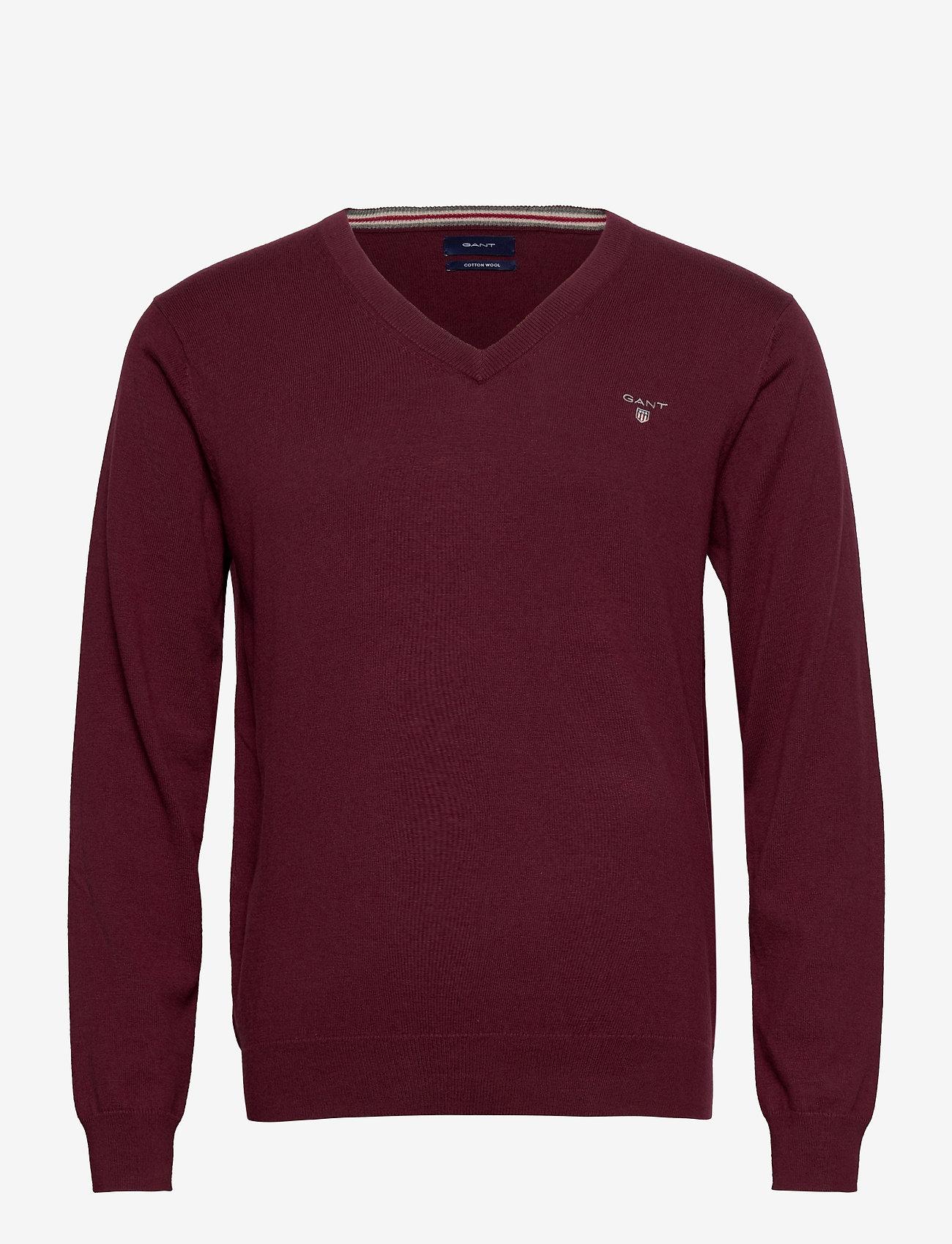 GANT - COTTON WOOL V-NECK - knitted v-necks - port red - 0