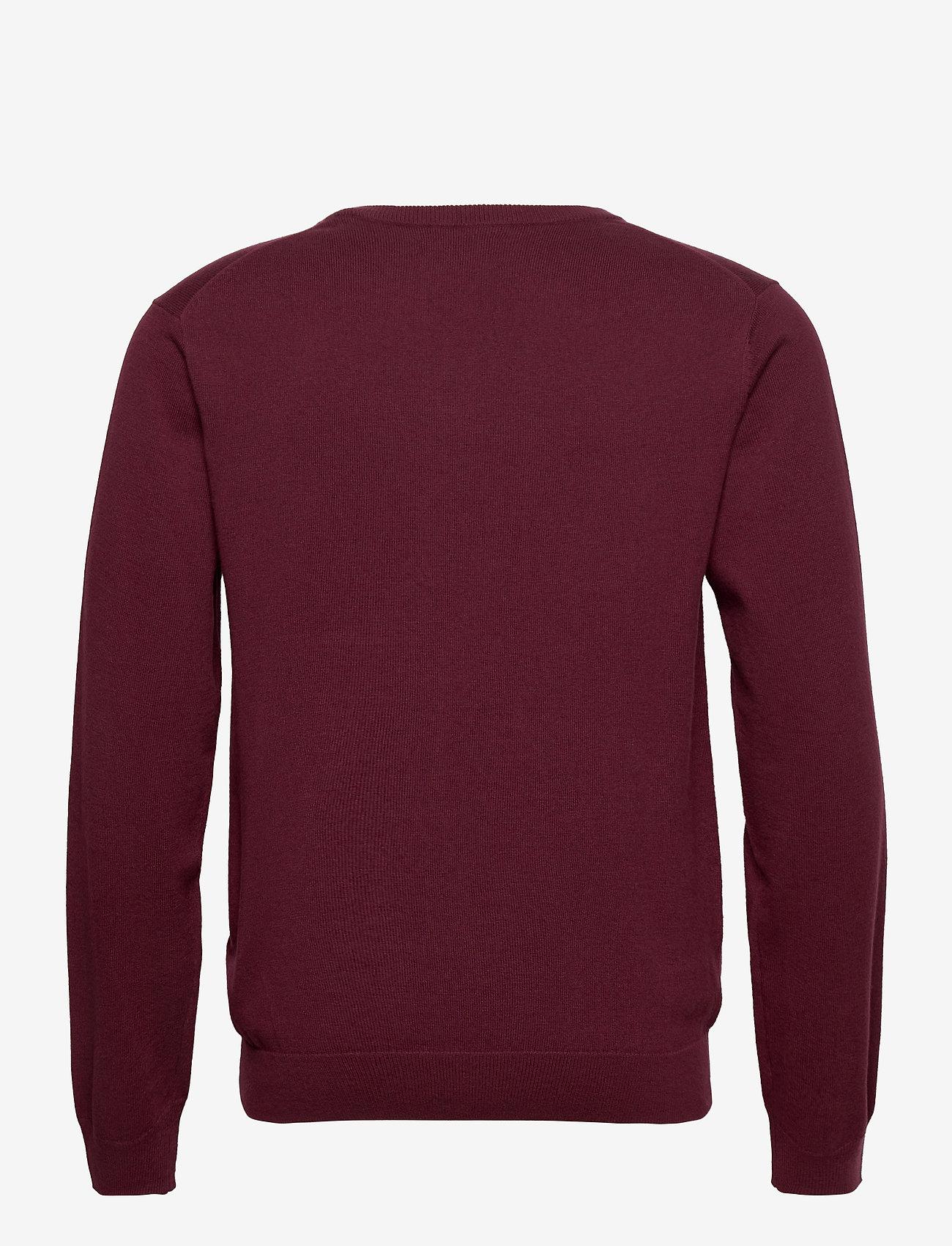 GANT - COTTON WOOL V-NECK - knitted v-necks - port red - 1