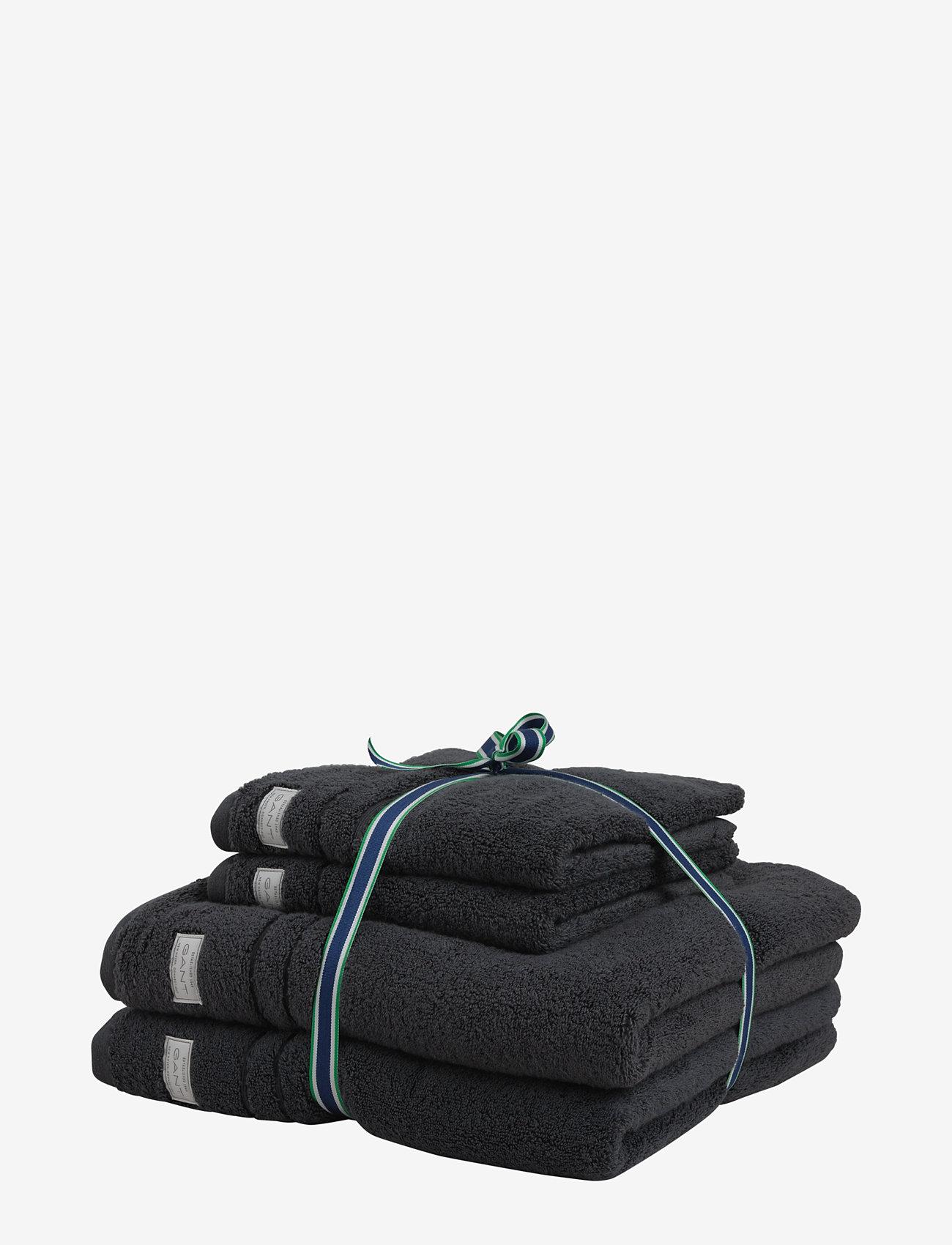 GANT - ORGANIC PREMIUM 4p 50x70 70x140 - towels - antracite - 0