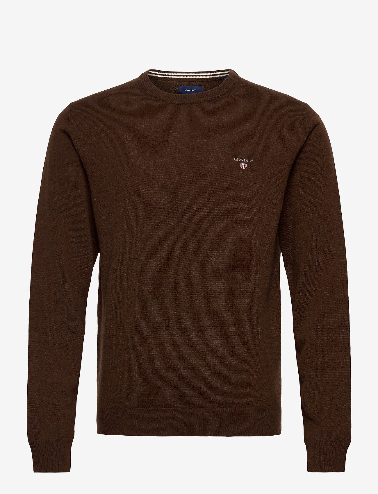 GANT - SUPERFINE LAMBSWOOL CREW - basic knitwear - dk brown melange - 0