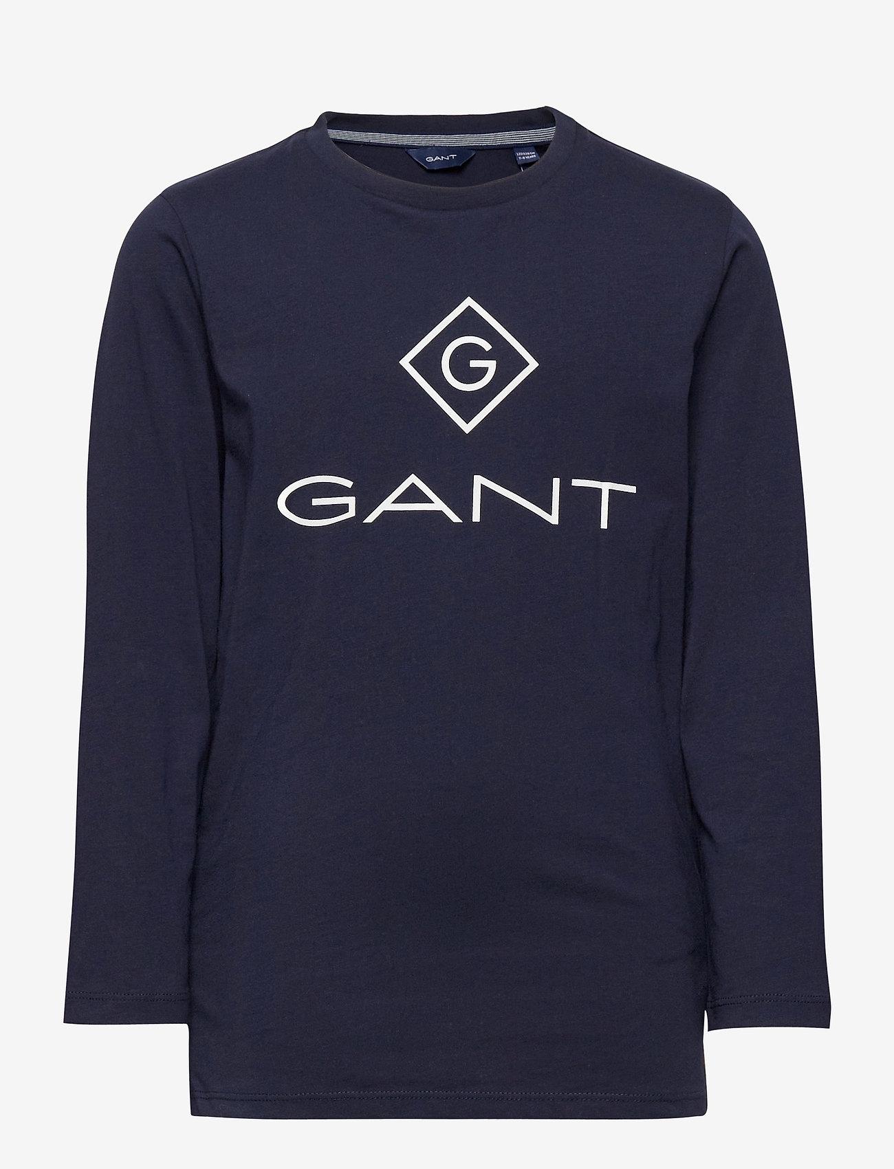 GANT - GANT LOCK-UP LS T-SHIRT - long-sleeved t-shirts - evening blue - 0