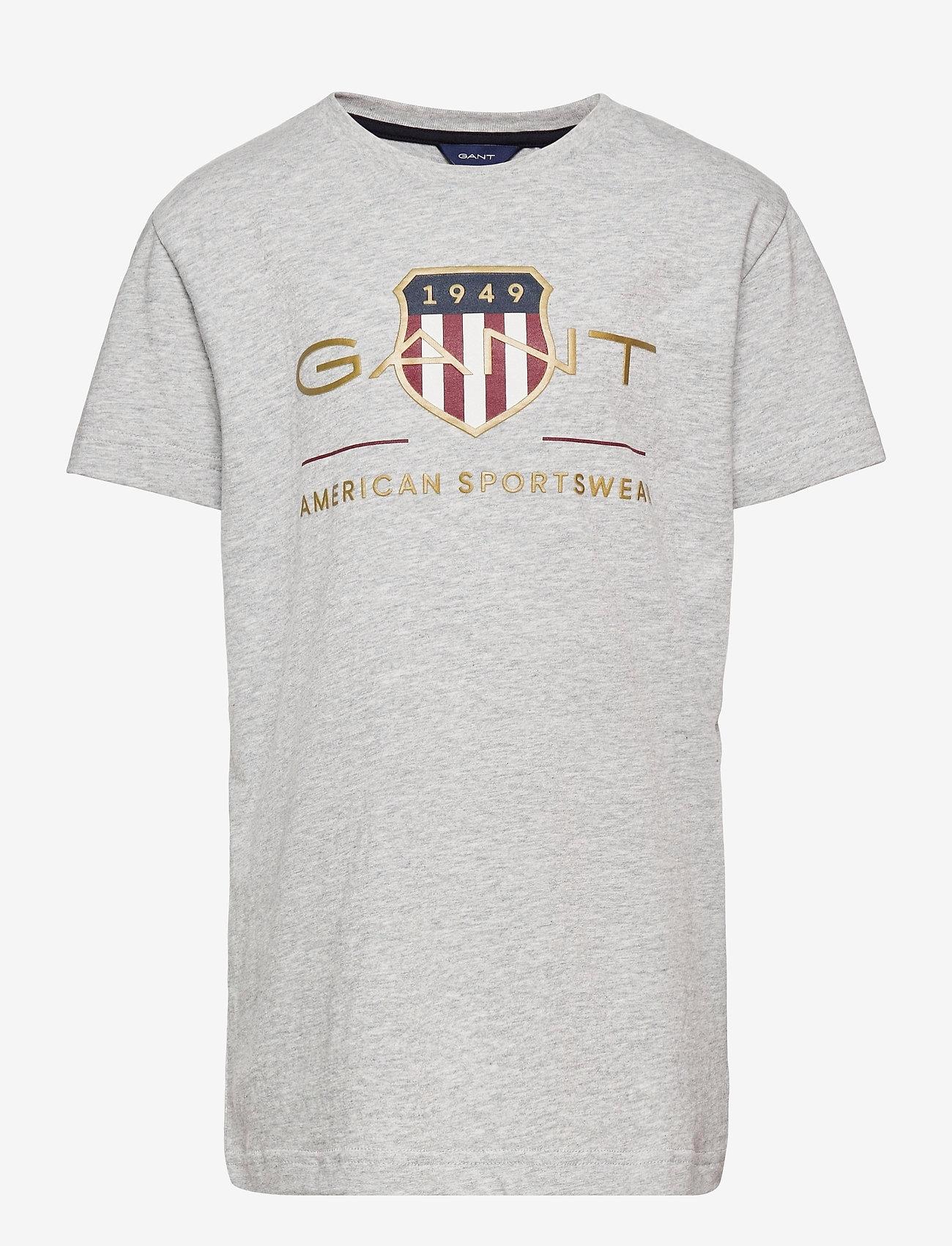 GANT - ARCHIVE SHIELD SS T-SHIRT - short-sleeved - light grey melange - 0