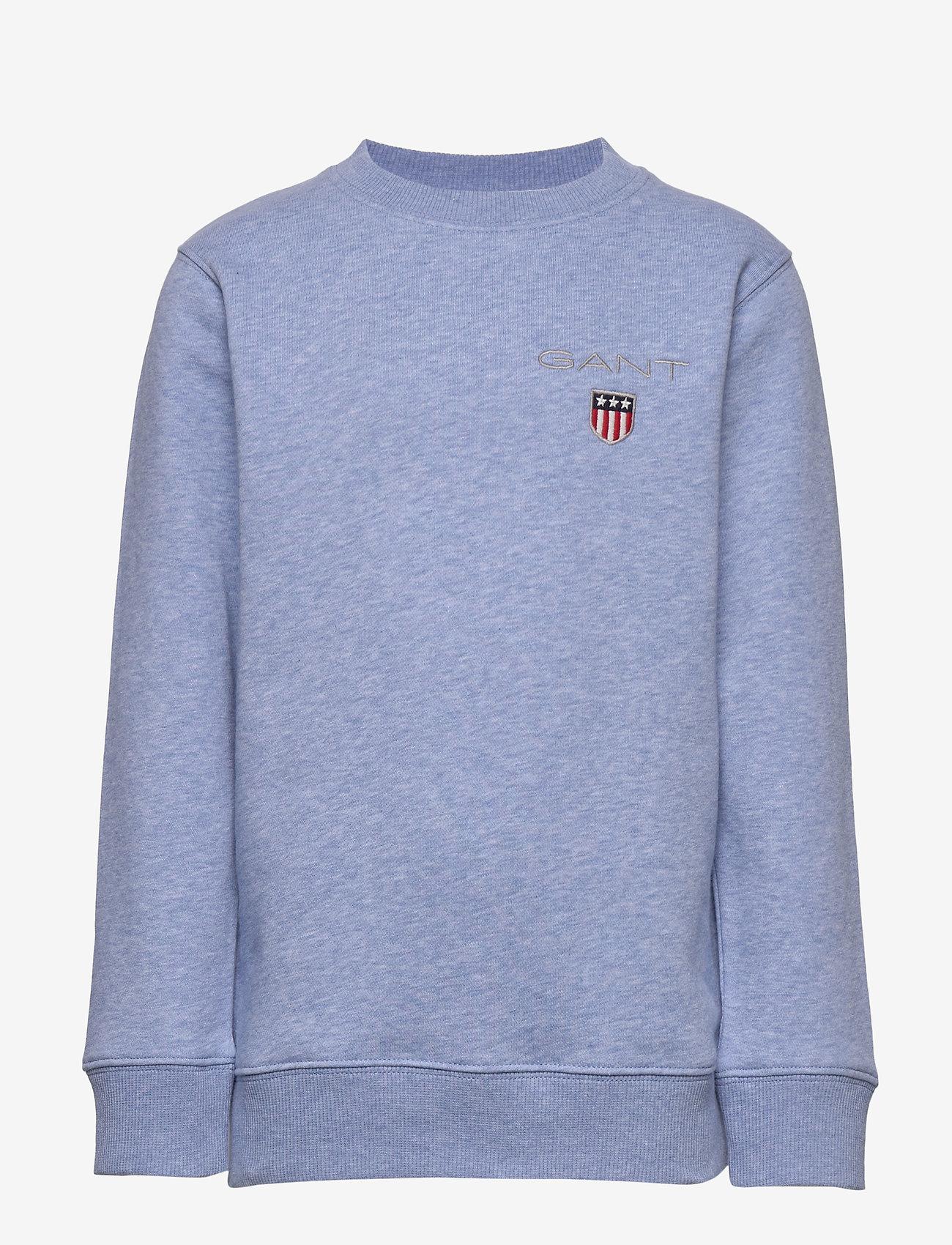 GANT - D1. MEDIUM SHIELD SWEAT C-NECK - sweatshirts - frost blue mel - 0