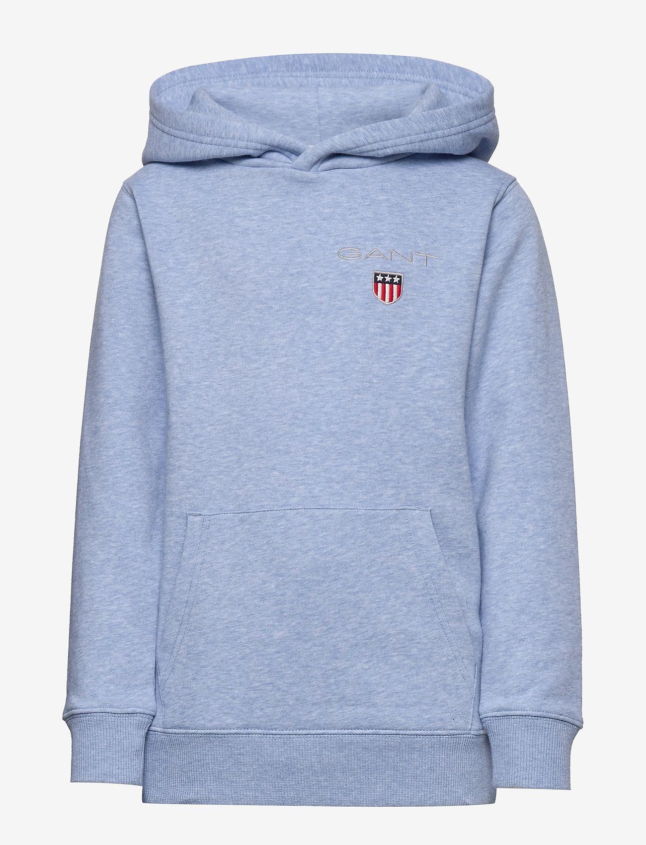 GANT - D1. MEDIUM SHIELD SWEAT HOODIE - hoodies - frost blue mel - 0