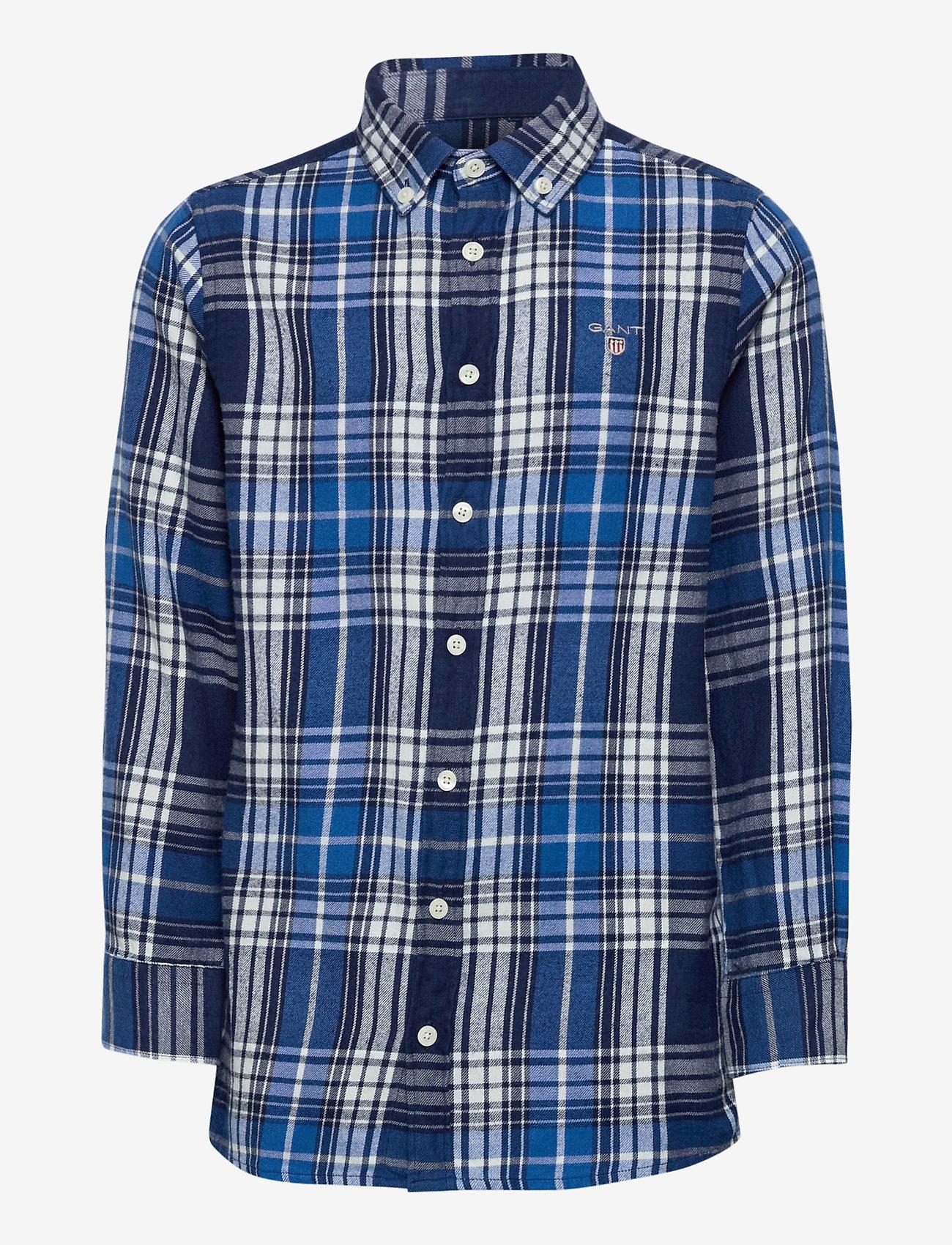 GANT - D1. FLANNEL INDIGO CHECK SHIRT - overhemden - strong blue - 0