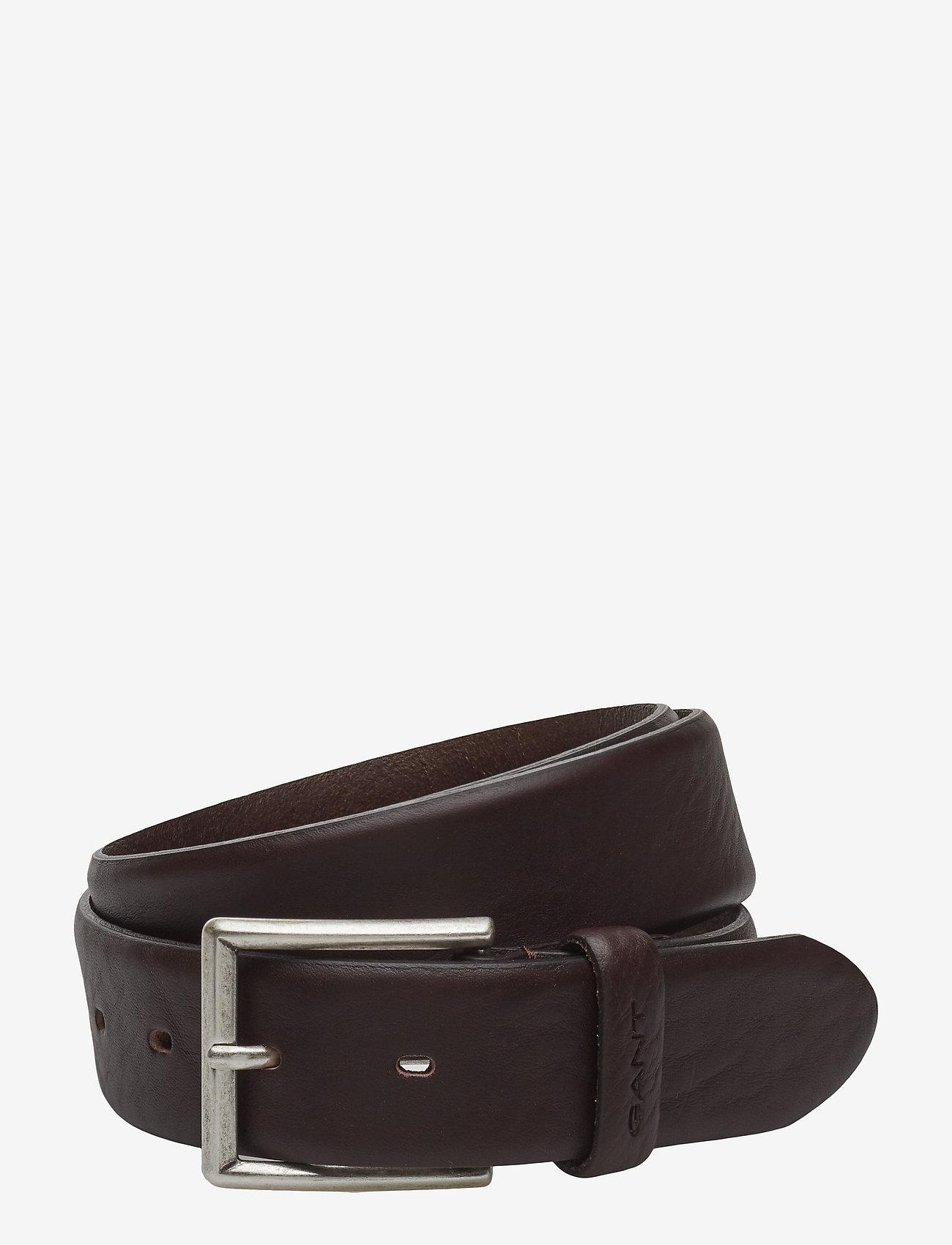 GANT - CLASSIC LEATHER BELT - belts - dark brown - 0