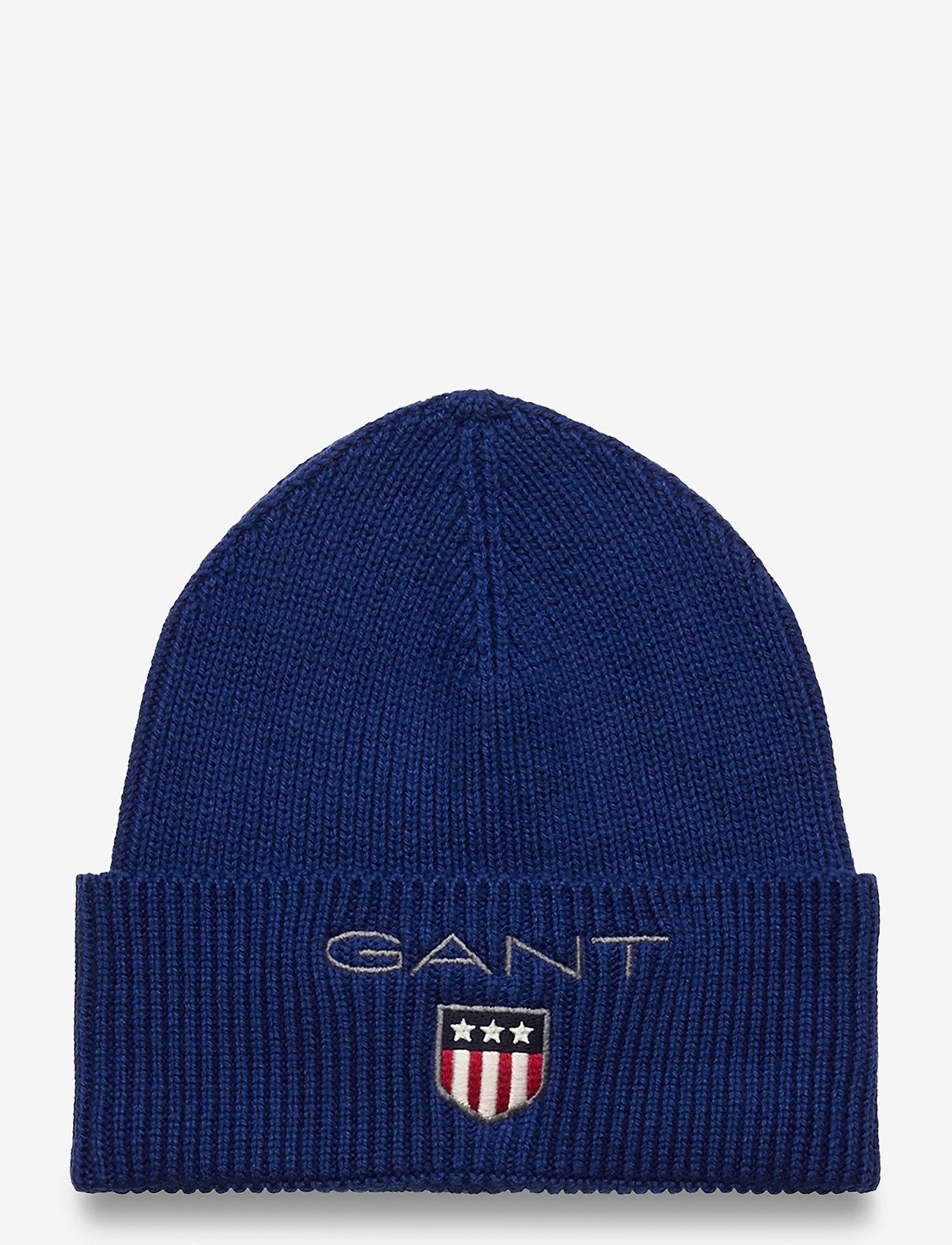 GANT - D1. MEDIUM SHIELD RIB BEANIE - hats - strong blue - 0
