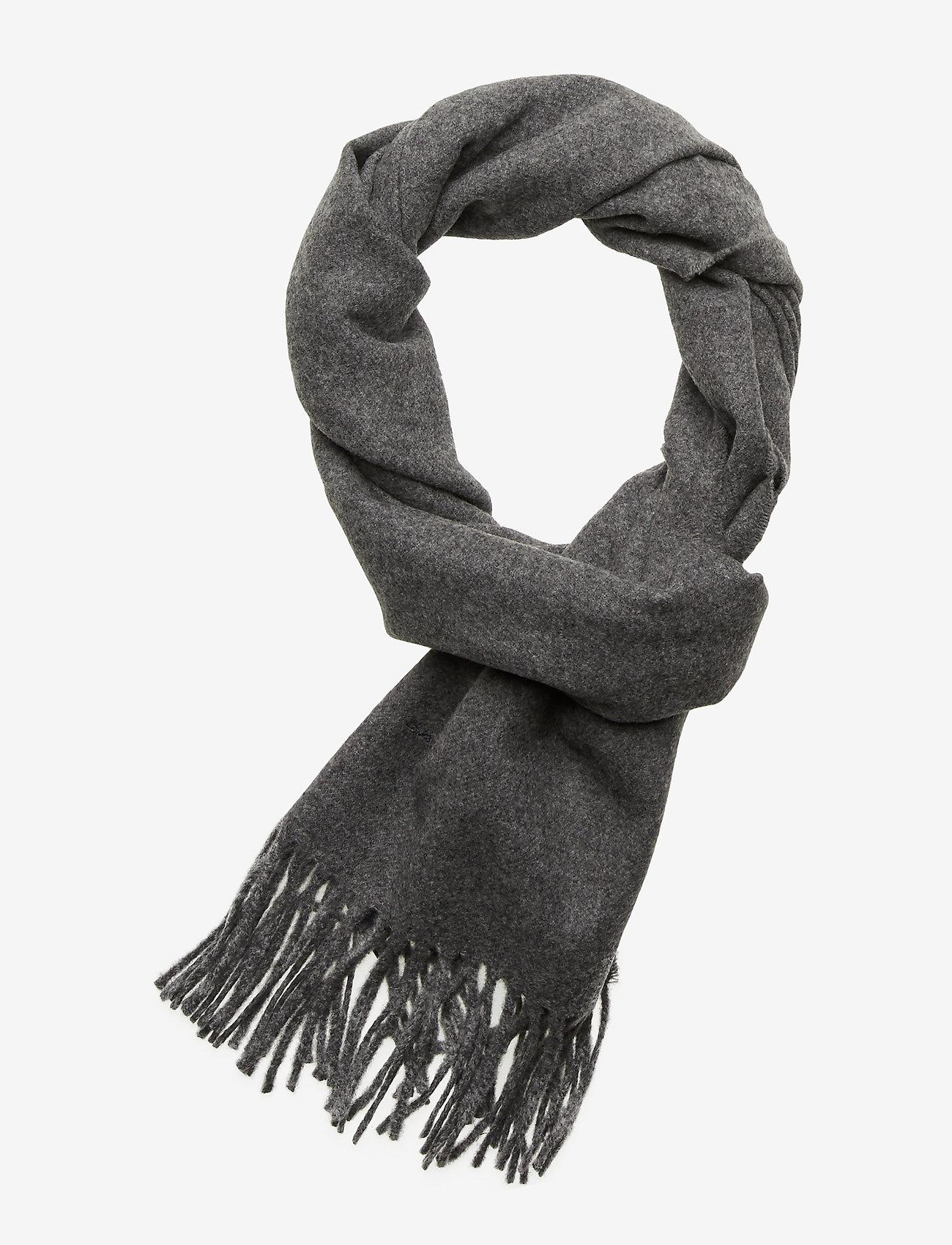 GANT - SOLID WOOL SCARF - scarves - charcoal melange - 0
