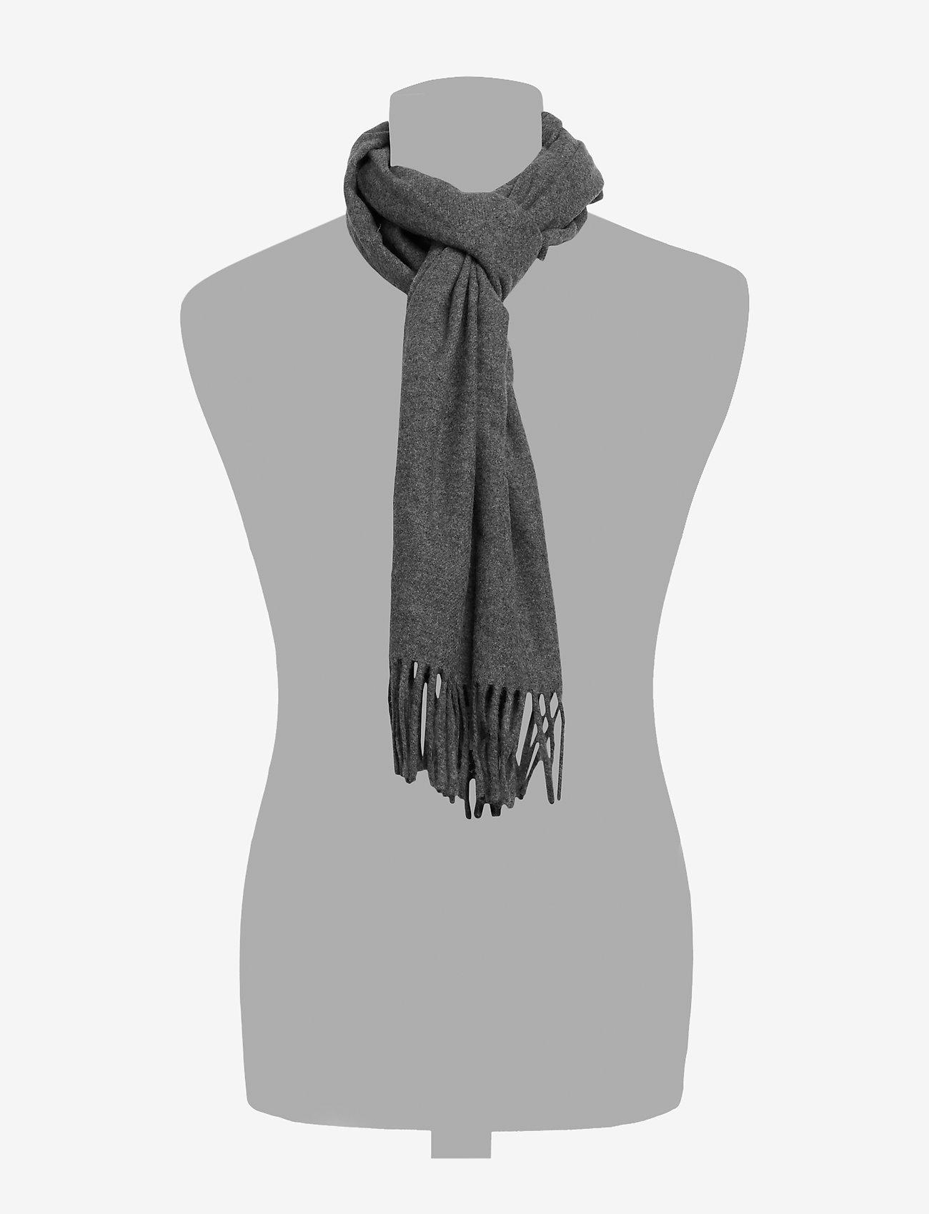 GANT - SOLID WOOL SCARF - scarves - charcoal melange - 1