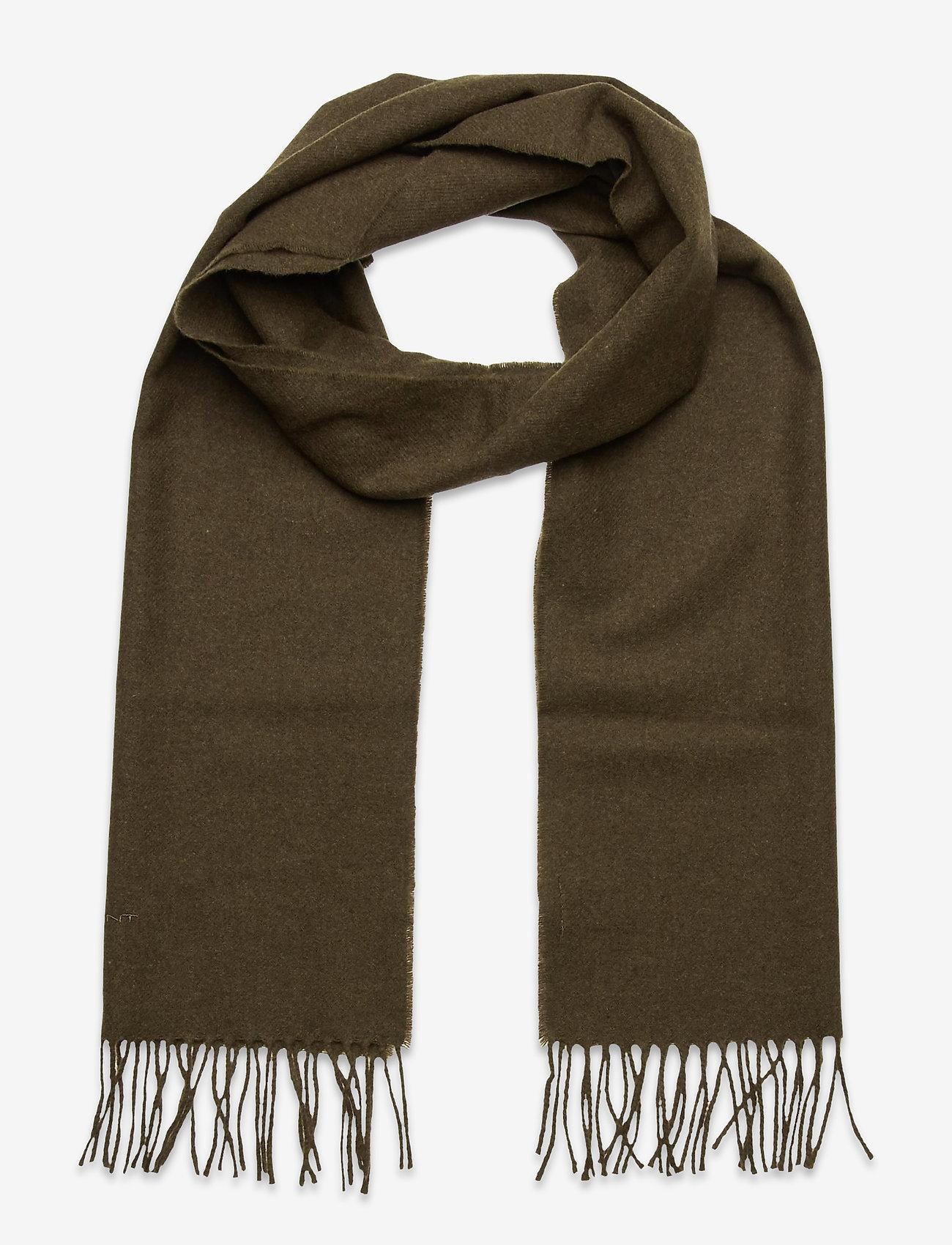 GANT - SOLID WOOL SCARF - scarves - dark cactus - 0