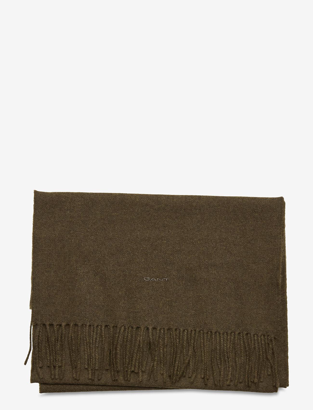 GANT - SOLID WOOL SCARF - scarves - dark cactus - 1